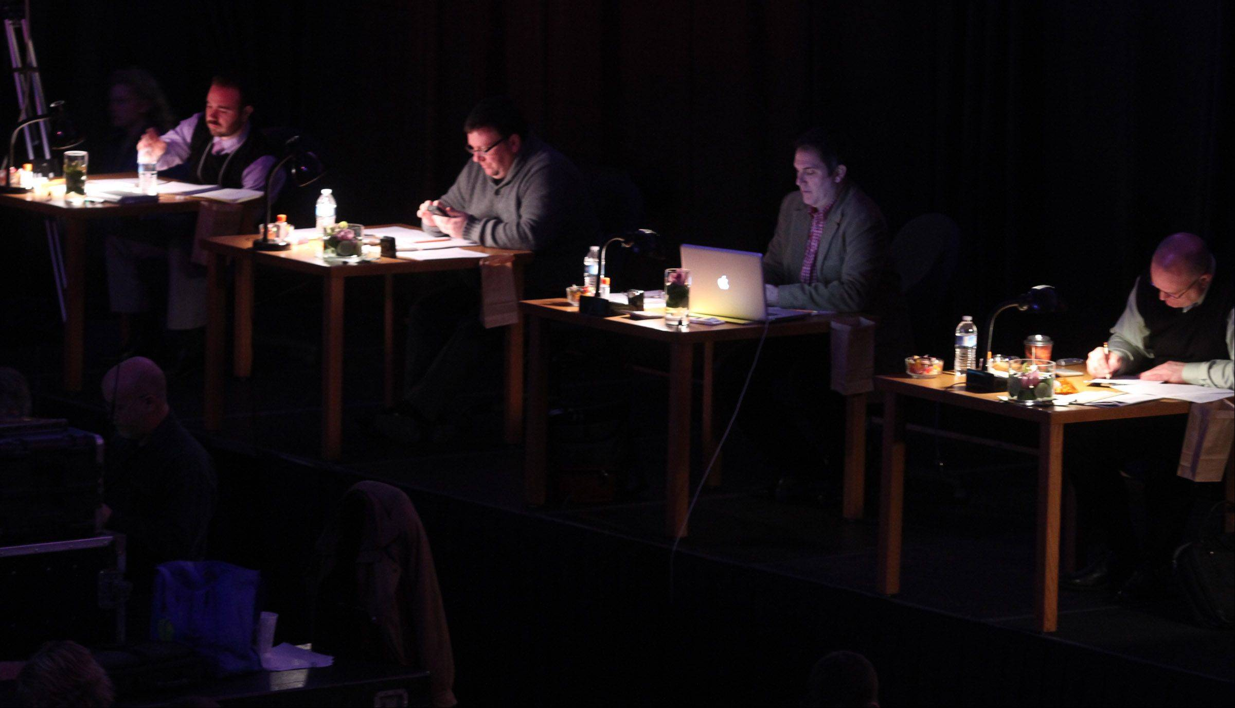 Judges at the 20th annual Chicagoland Showcase hosted by Hersey High School in Arlington Heights on Saturday.