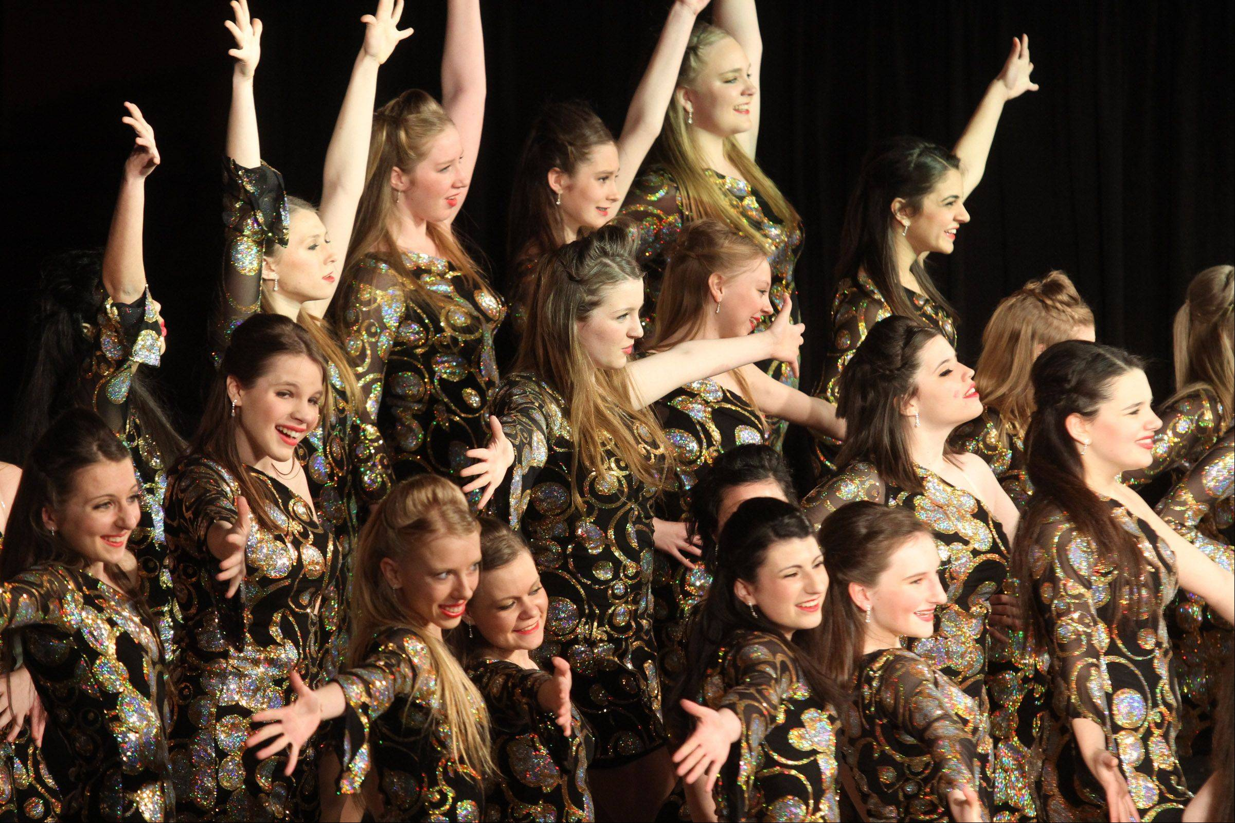 Leading Ladies of Rolling Meadows High School performs at the 20th annual Chicagoland Showcase hosted by Hersey High School in Arlington Heights on Saturday.