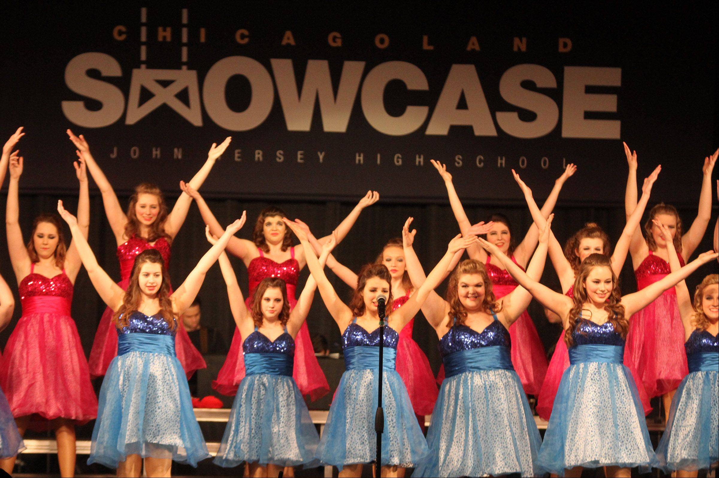 Dynamics of Wheaton North High School perform at the 20th annual Chicagoland Showcase hosted by Hersey High School in Arlington Heights on Saturday.