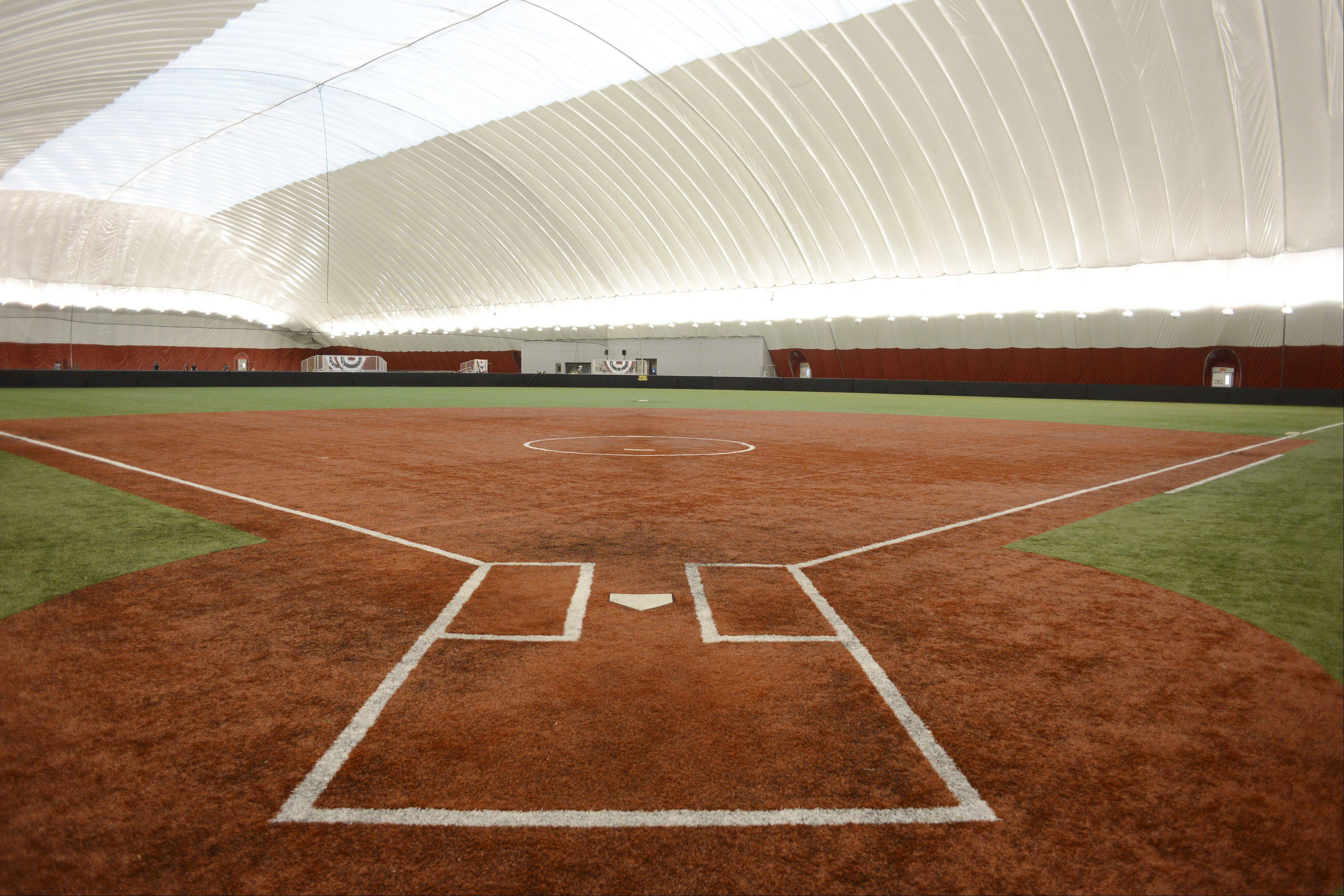 This is one of two fields at the Dome at the Ballpark in Rosemont.