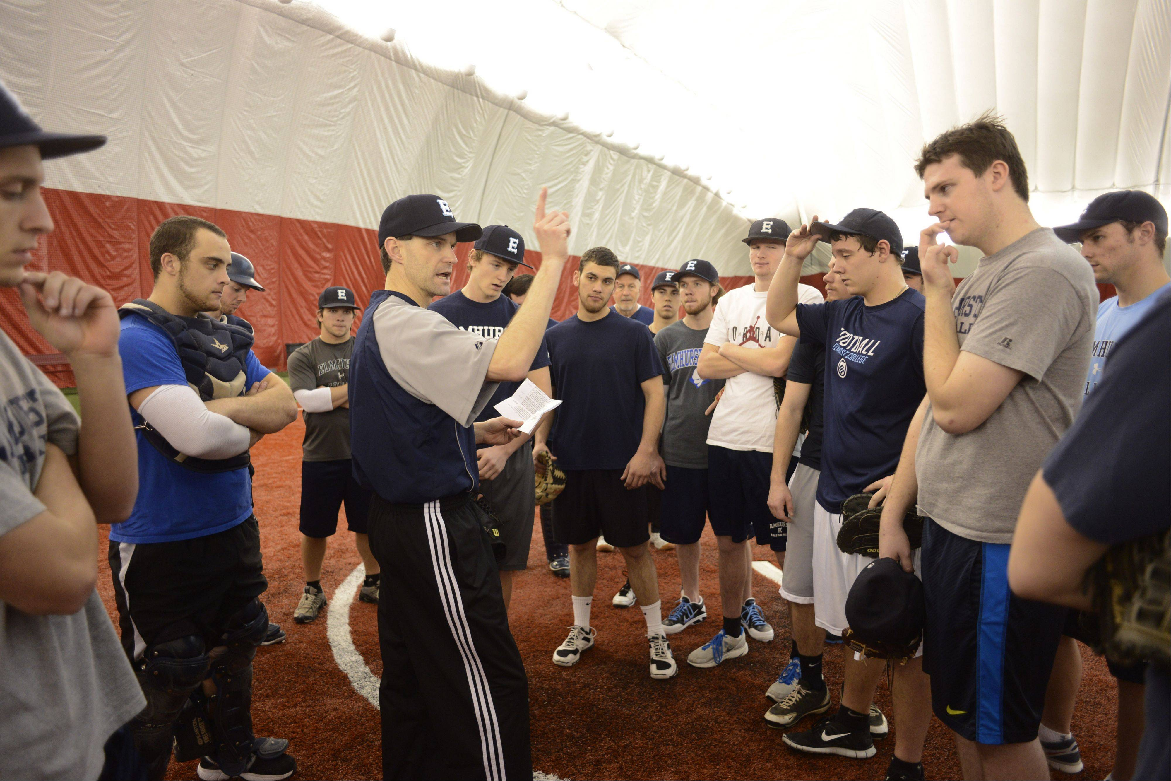 Elmhurst College head baseball coach Joel Southern leads his team during a practice at the Dome at the Ballpark in Rosemont.