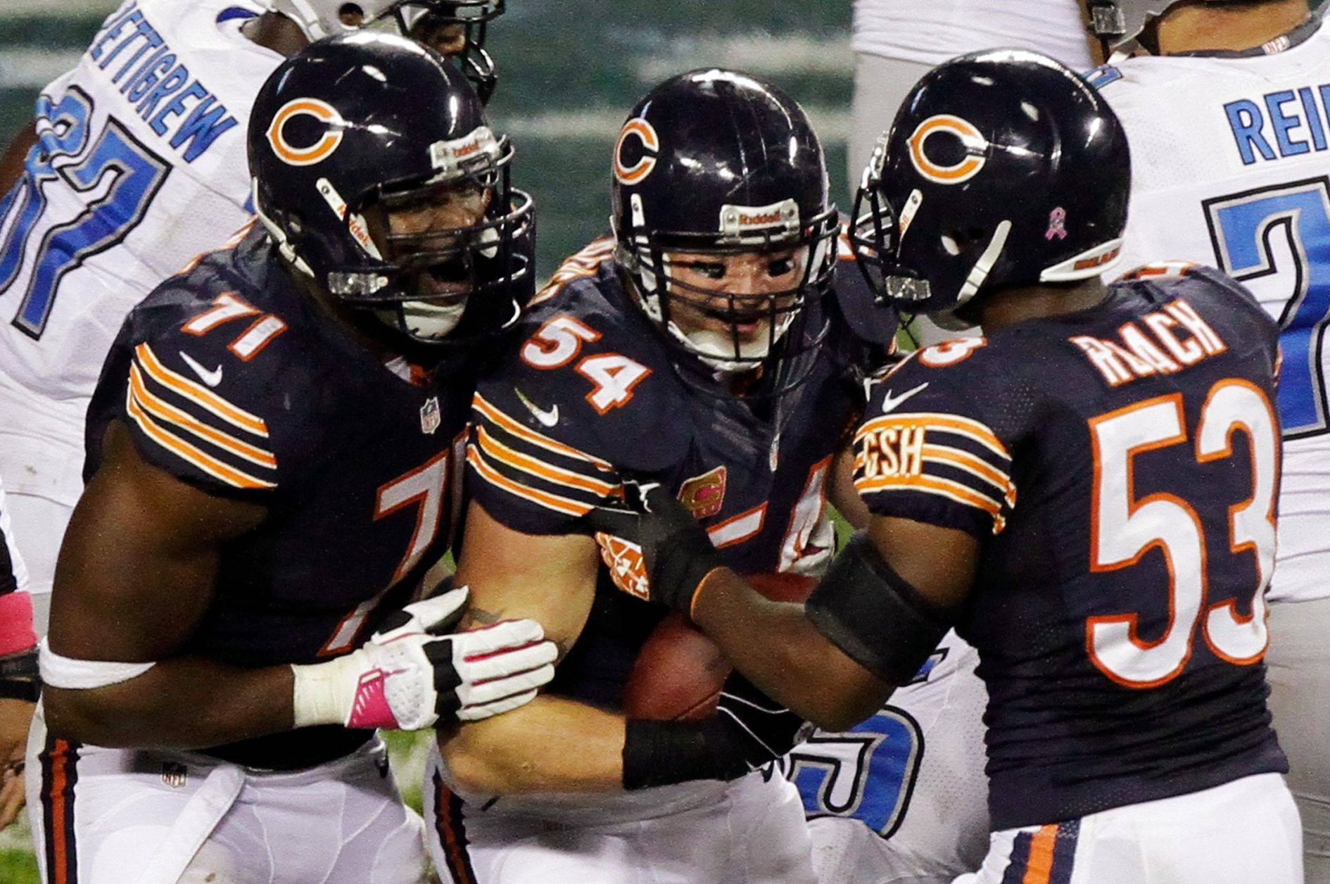 The contracts of Brian Urlacher (54), Israel Idonije and Nick Roach (53) are all up. The Bears figure to keep Idonije and Roach, but the future of Urlacher is much more up in the air.
