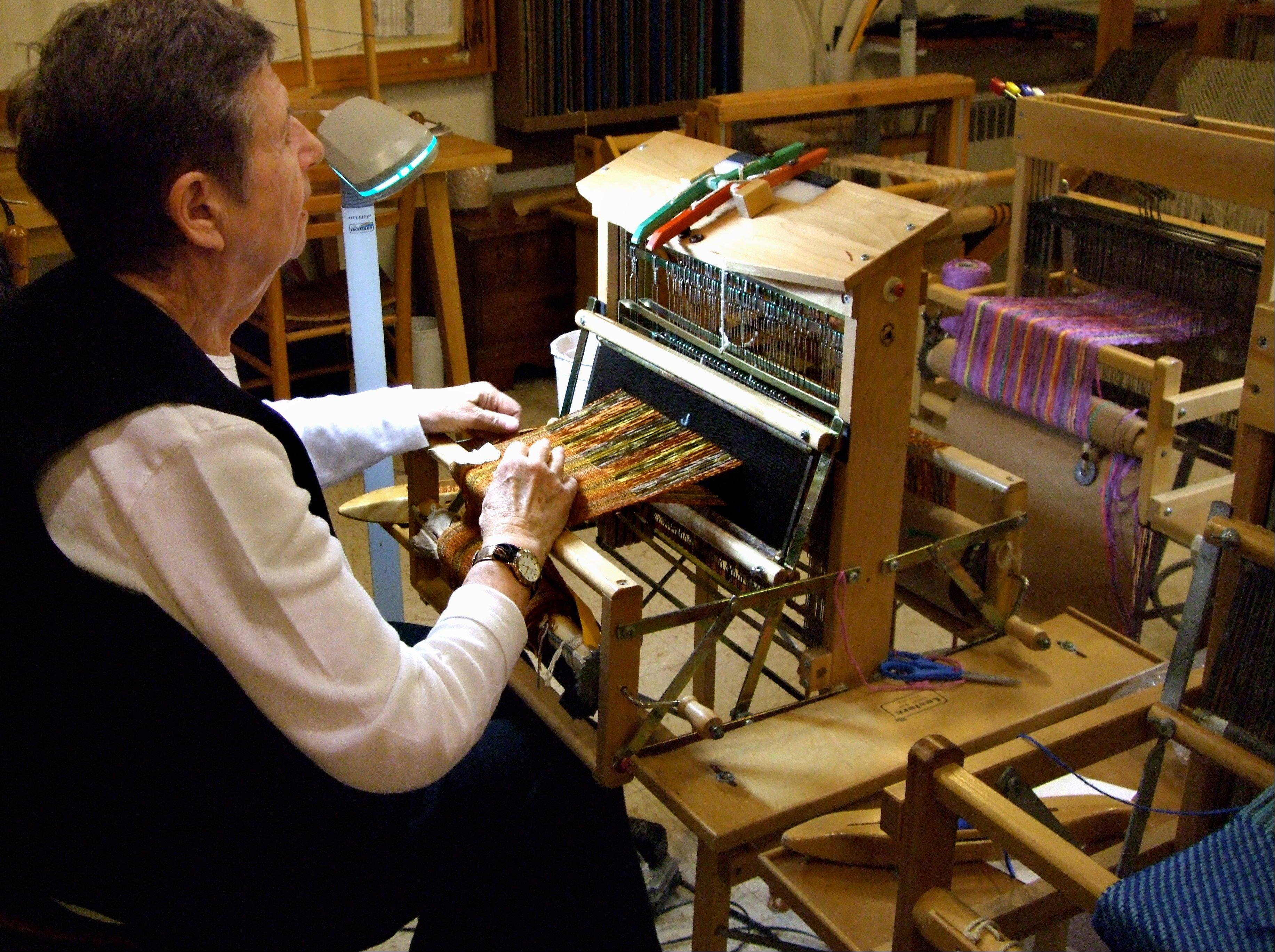 Pearl Zucherman, a member of the Fellowship Community, works on a loom in the weavery of the Fellowship, a commune-like setting in Chestnut Ridge, N.Y., that takes an unusual approach to care of the elderly.
