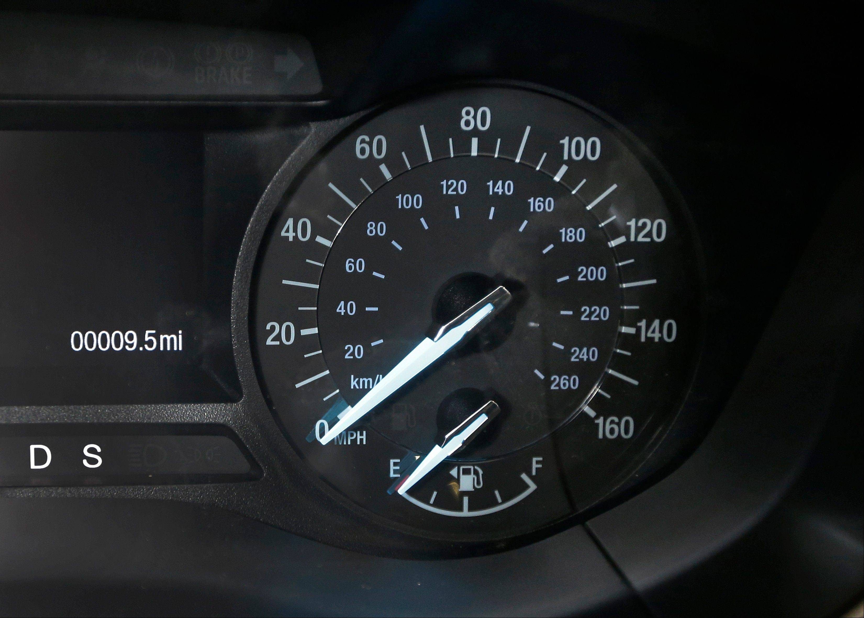 The speedometer of a 2013 Ford Fusion displayed at the Bob Maxey dealership in Detroit. Although current cars with high-horsepower engines can come close to the top speedometer speeds, most are limited by engine control computers. That's because the tires can overheat and fail at higher speeds.
