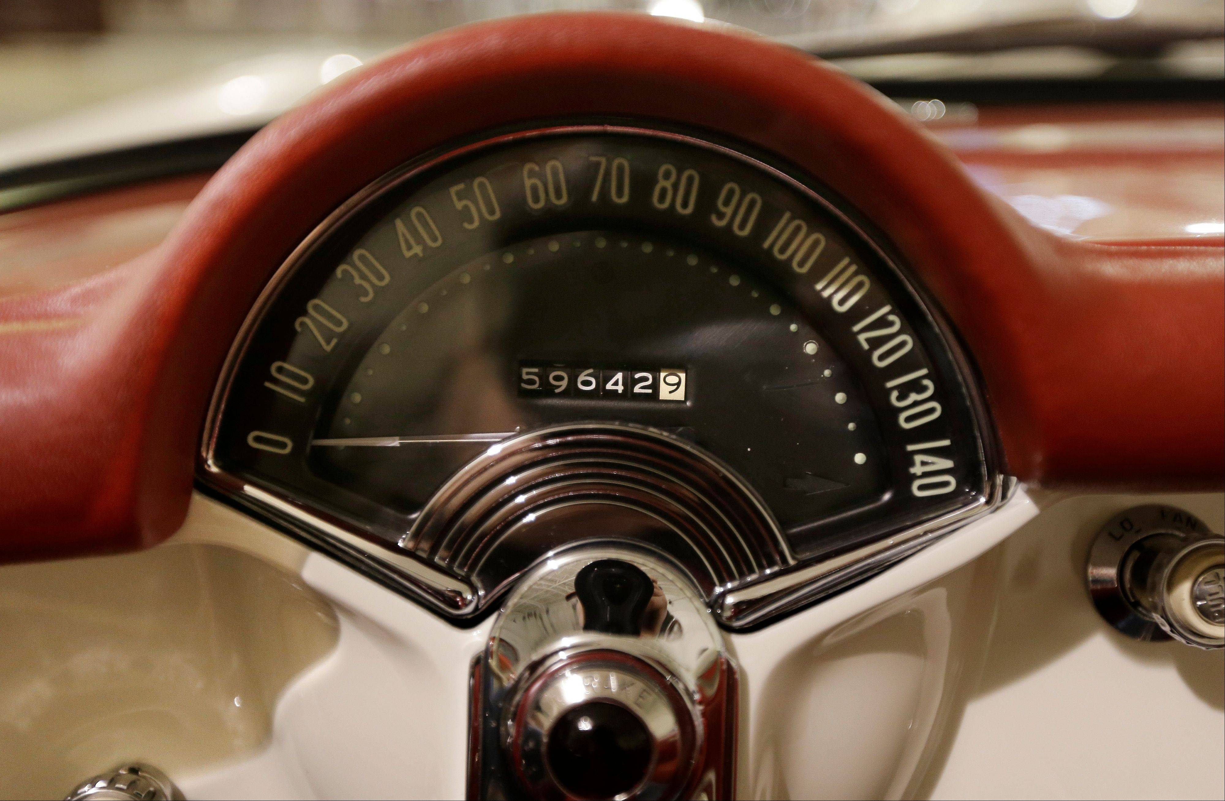The speedometer of a 1953 Corvette is seen at the GM Heritage Center in Sterling Heights, Mich. Although current cars with high-horsepower engines can come close to the top speedometer speeds, most are limited by engine control computers. That's because the tires can overheat and fail at higher speeds.
