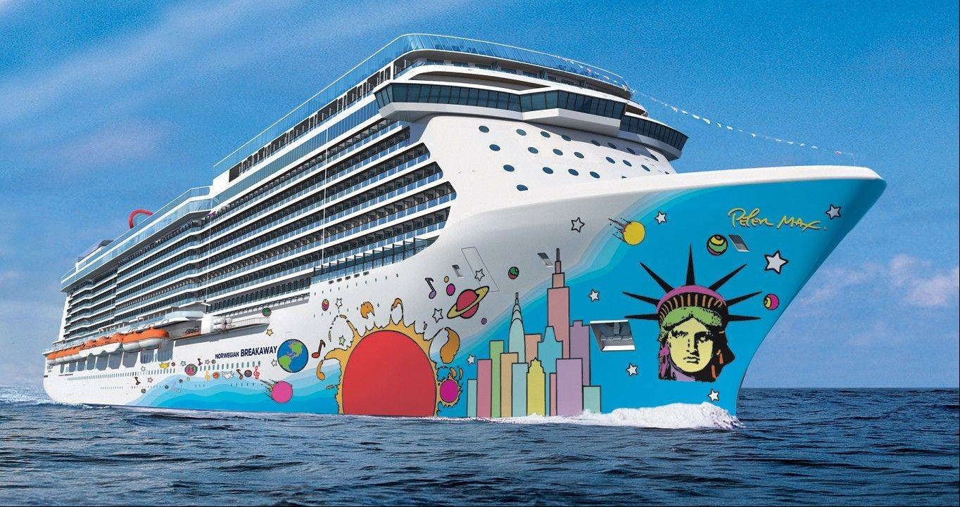 The hull of the Norwegian Breakaway features the unmistakable pop art of Peter Max, with Lady Liberty's face and a city skyline anchoring the brightly colored design.