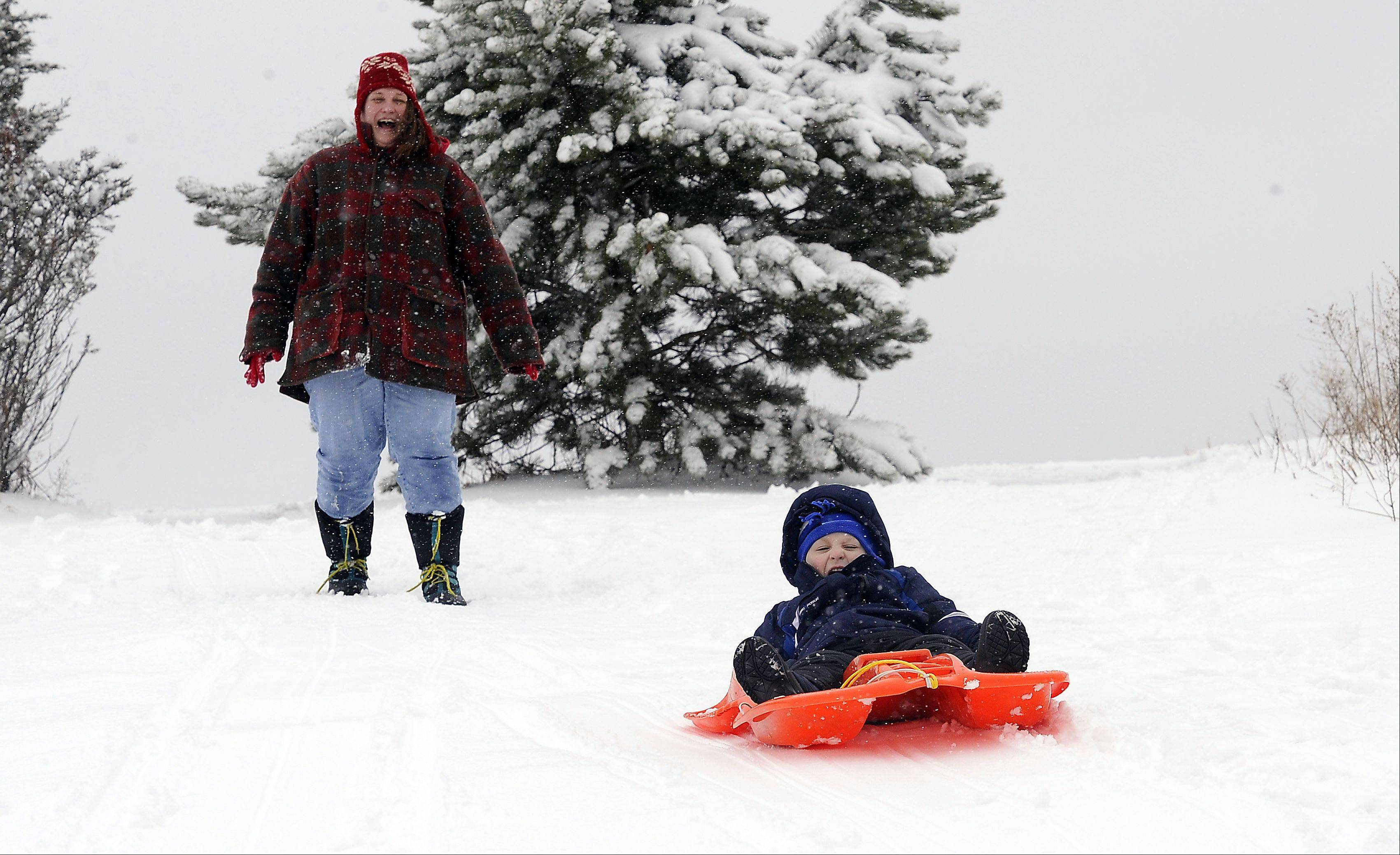 Karla Richards and her son Charlie, 3, of Palatine, find that the snow is just right for sledding at the Hamiliton Reservoir in Palatine Wednesday.
