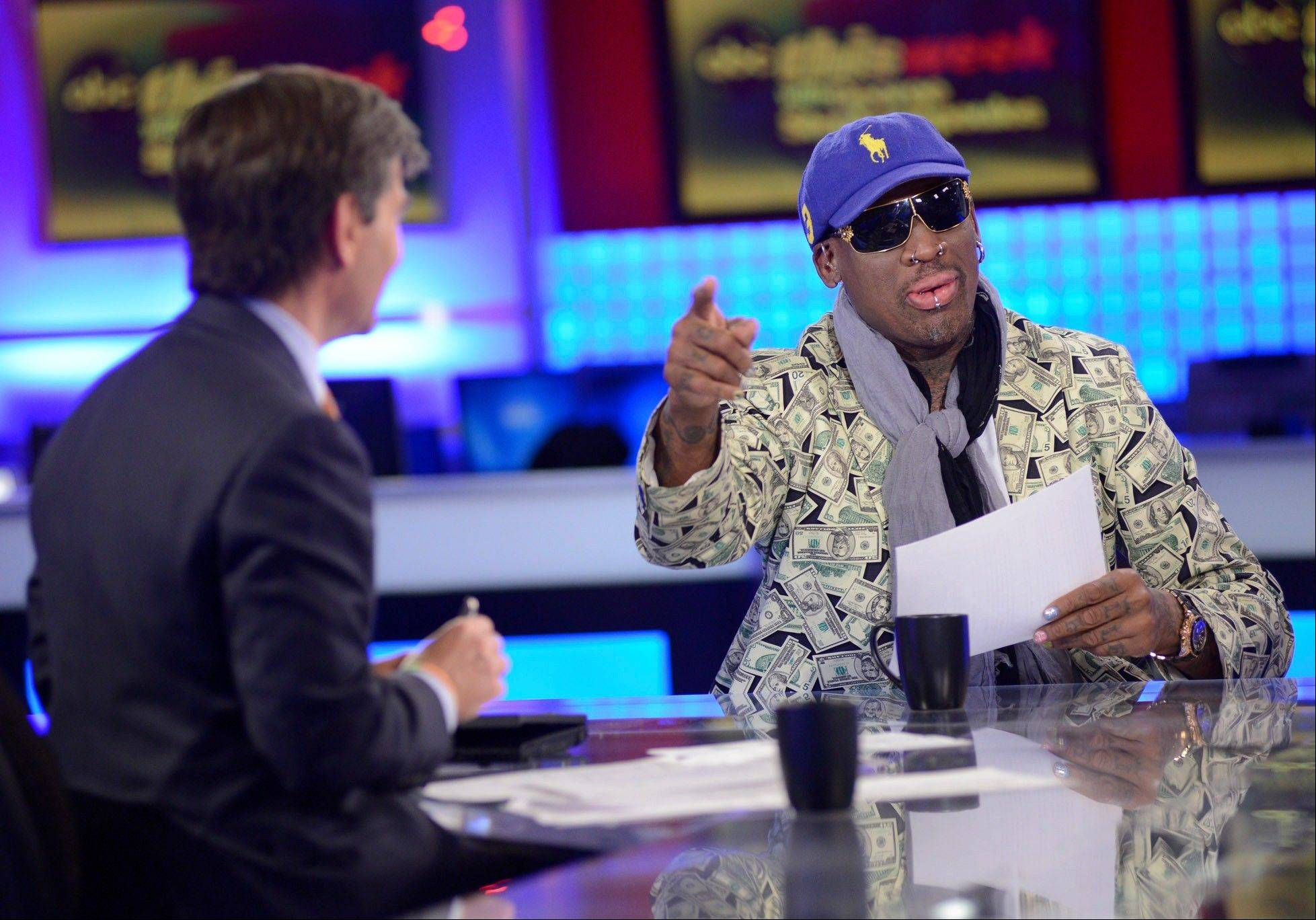 """This Week"" host George Stephanopoulos, left, interviews former NBA star Dennis Rodman, just back from a visit with North Korea's young leader Kim Jong Un."