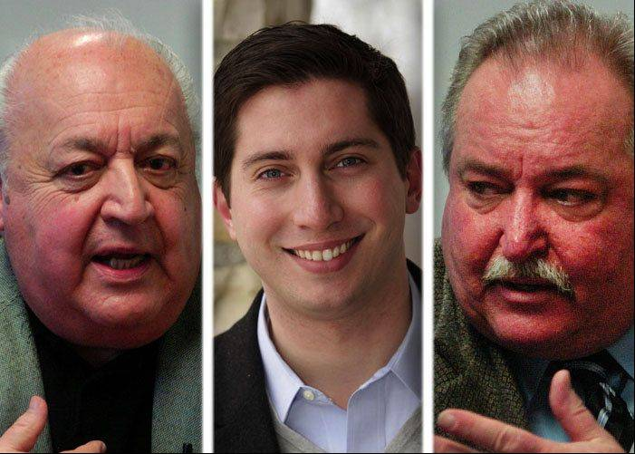 Former Des Plaines mayor Tony Arredia, left, 3rd Ward Alderman Matthew Bogusz, center, and 6th Ward Alderman Mark Walsten, right, are vying for the Des Plaines mayoral seat on April 9.