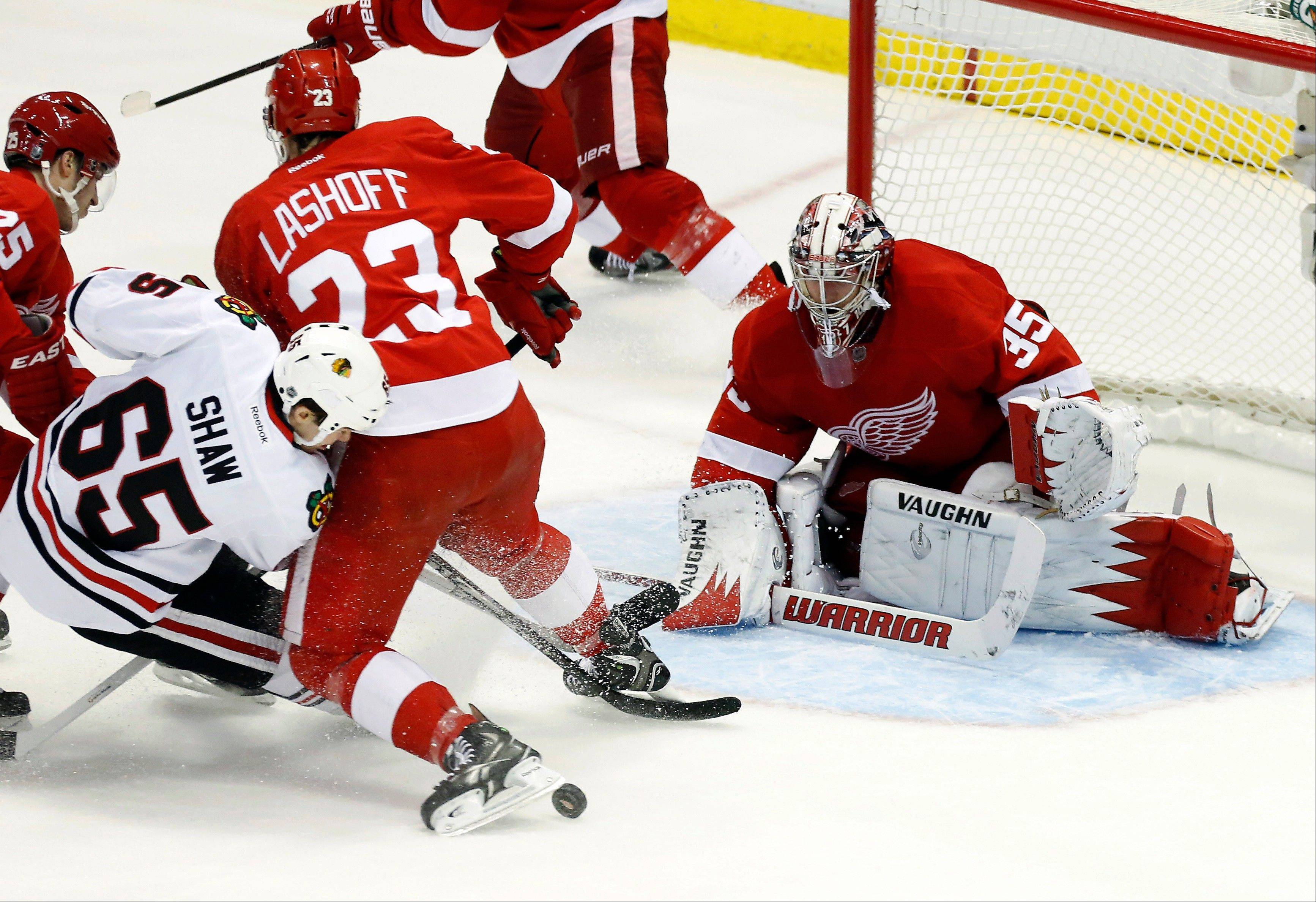 Detroit Red Wings defenseman Brian Lashoff (23) blocks a shot attempt by Blackhawks right wing Andrew Shaw (65) in front of Red Wings goalie Jimmy Howard (35) in the third period Sunday in Detroit. If realignment takes place the way it's being outlined, the Hawks and Red Wings will meet just twice per season.