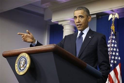 President Barack Obama talks to reporters in the White House briefing room in Washington after his meeting with congressional leaders about the automatic spending cuts.