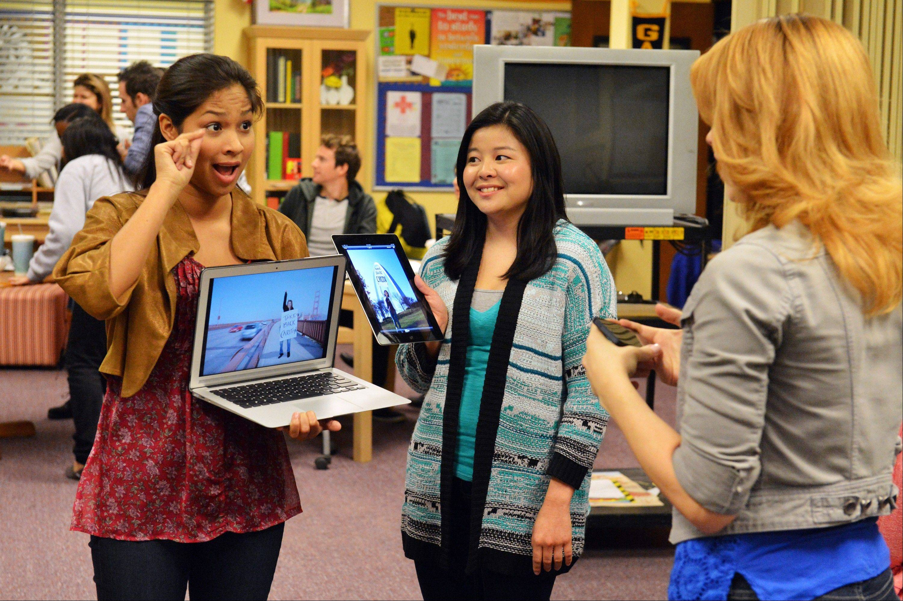 "Monday's episode of ABC Family's TV series ""Switched at Birth,"" starring Karla Gutierrez, left, and Ashley Shimizu, will mostly be silent. When news of the school's closing spreads, the students of Carlton School for the Deaf stage a protest."