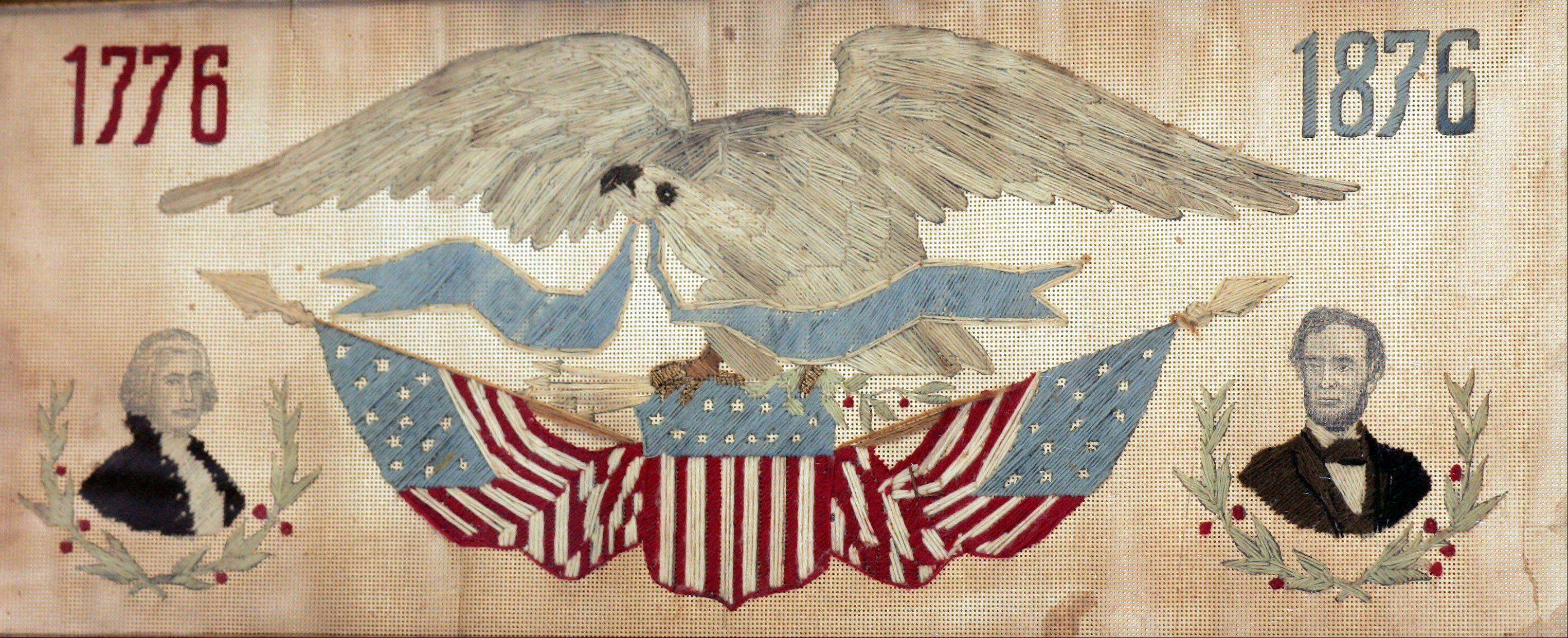 Women celebrated the U.S. Centennial with embroidery on punched paper. This has the popular eagle and flag motif, but the value is lower than it could be because presidents George Washington and Abraham Lincoln are stenciled on, not sewn.