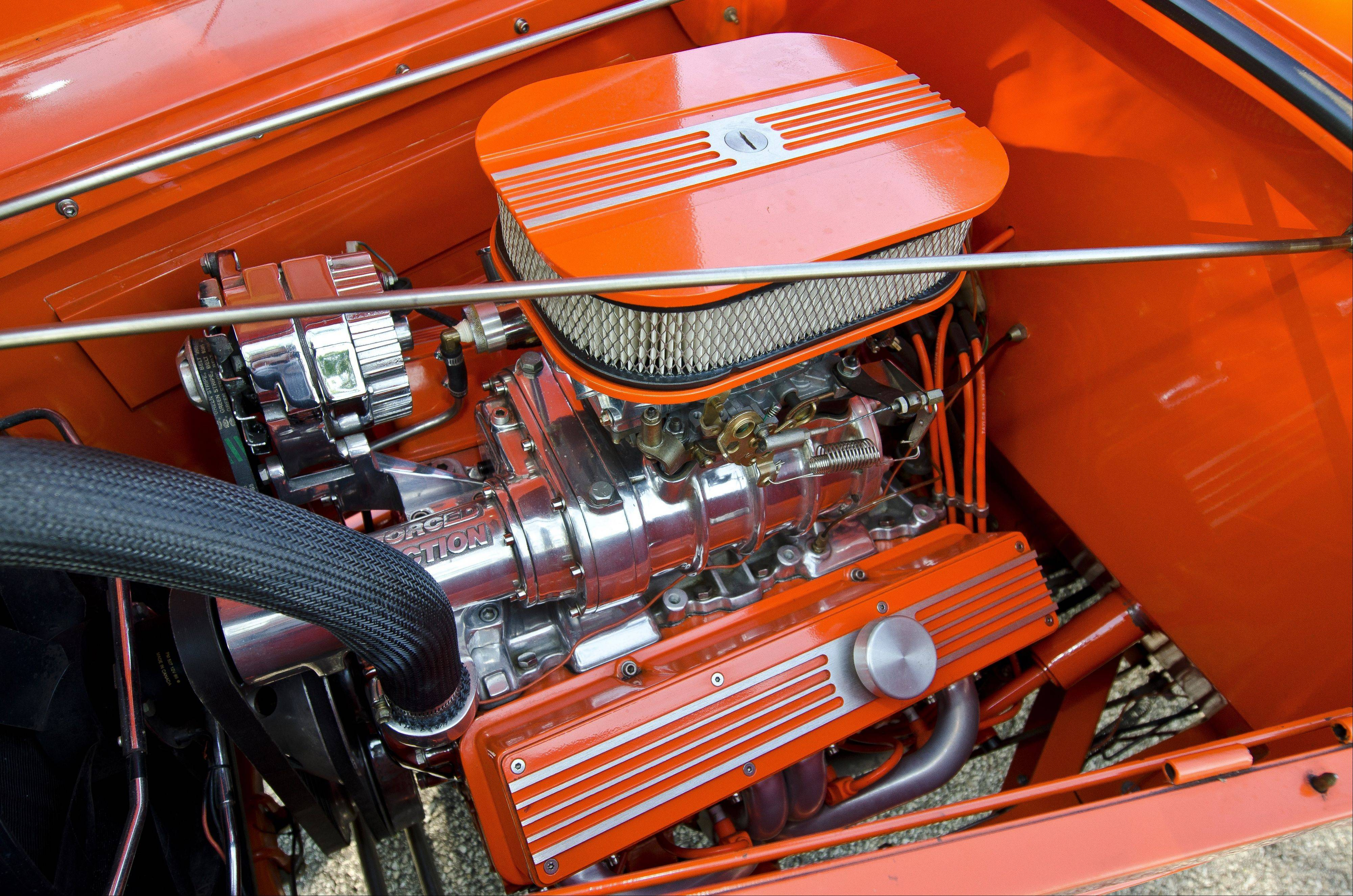 The Ford's engine was salvaged from a wrecked Corvette and modified to boost the horsepower.