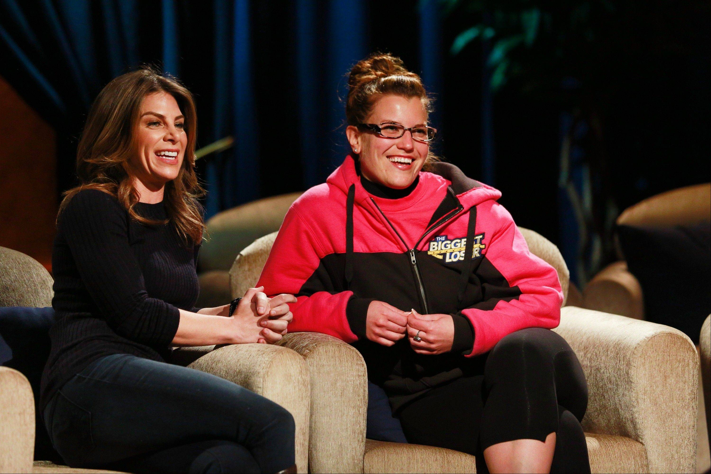 """Biggest Loser"" trainer Jillian Michaels, left, sits next to Wheeling's Danni Allen. Allen made it through the latest round of competition after spending two weeks at home working and working out on her own."