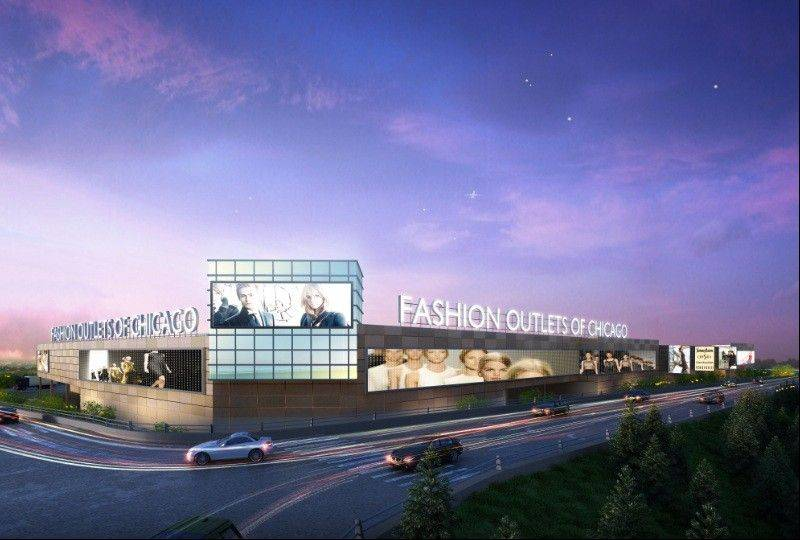 A rendering of the Fashion Outlets of Chicago, set to open Aug. 1 in Rosemont.