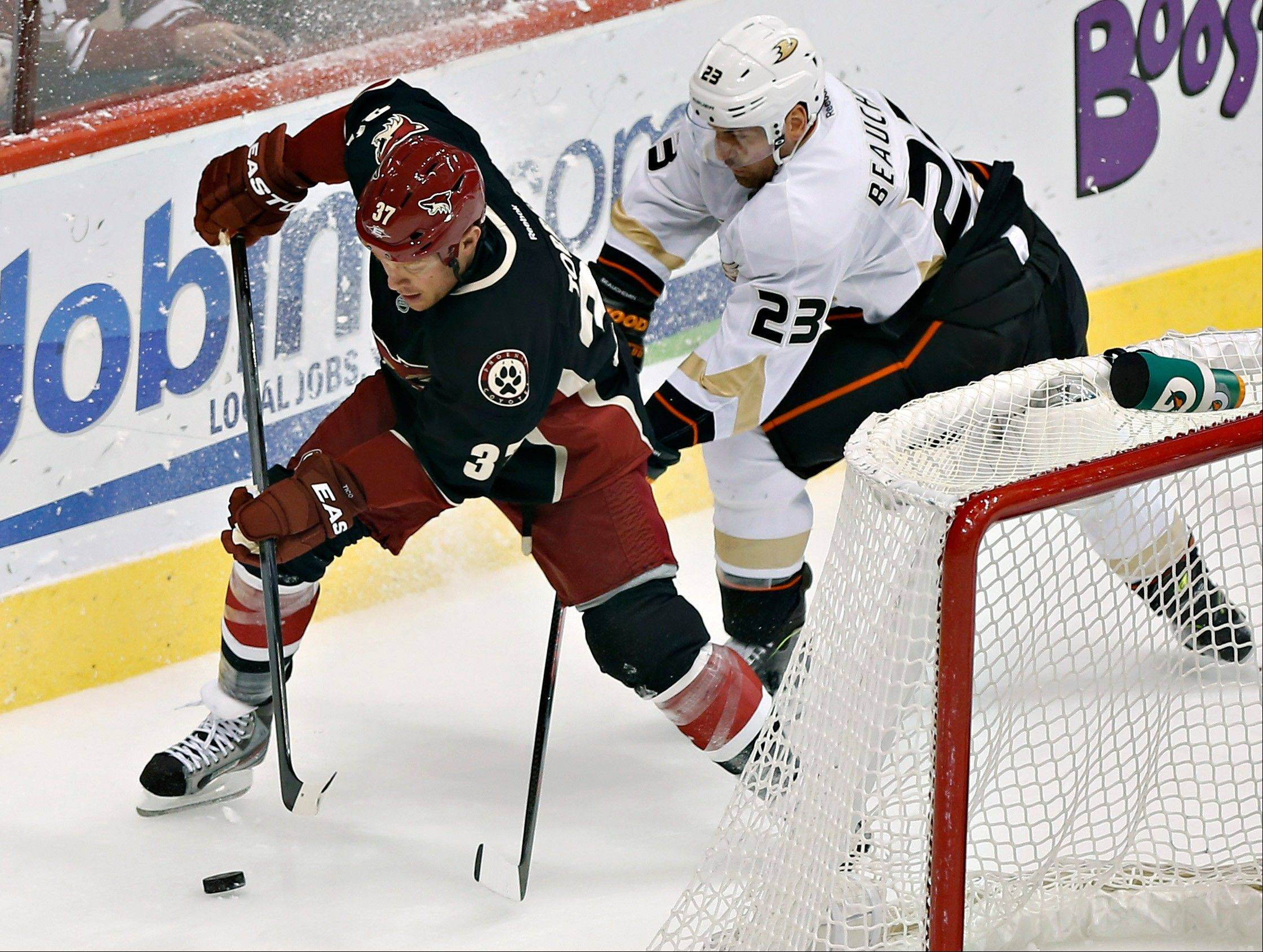 Anaheim Ducks' Francois Beauchemin (23) battles Phoenix Coyotes' Raffi Torres (37) for the puck during the second period of an NHL hockey game, Monday, March 4, 2013, in Glendale, Ariz.