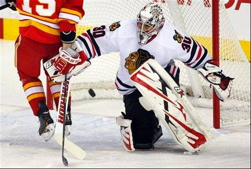Blackhawks goalie Ray Emery made 45 saves as the Hawks earned a 3-2 shootout win at Calgary on Feb. 2.