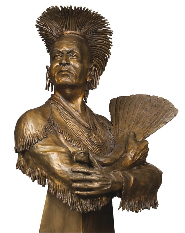 A life-size bronze bust of Black Hawk sits in the West Aurora school library, commissioned by West's Class of 1958 and created by artist Gareth Curtis based on a lithograph created during Black Hawk's lifetime housed in the Library of Congress.