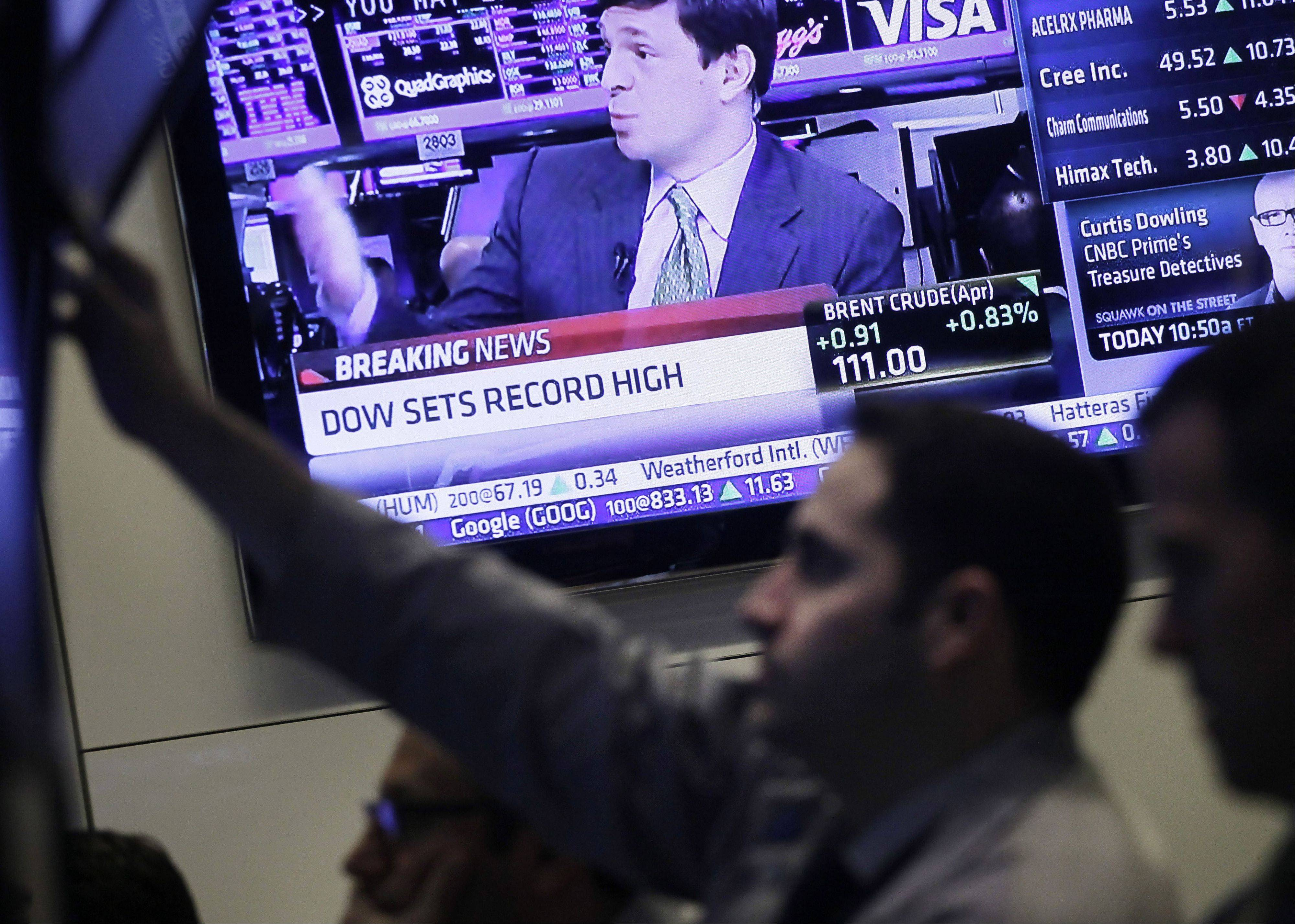 The Dow Jones industrial average jumped 126 points Tuesday to close at an all-time high, powered by China�s strong economic growth targets and a jump in European retail sales.