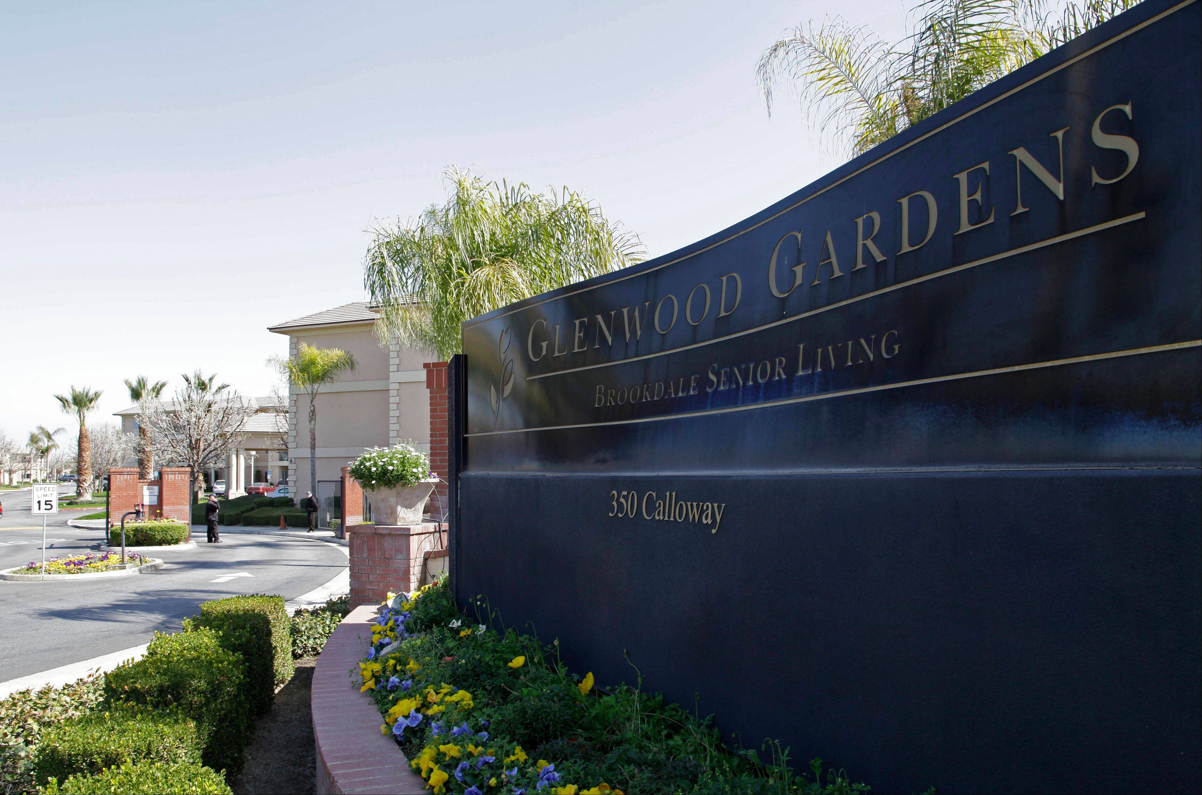 "Shown is the main gate of Glenwood Gardens in Bakersfield, Calif., Monday March 4, 2013, where an elderly woman died after a nurse refused to perform CPR on her last week. The central California retirement home is defending one of its nurses who refused pleas by a 911 operator to perform CPR on an elderly woman, who later died. ""Is there anybody that's willing to help this lady and not let her die,"" dispatcher Tracey Halvorson says on a 911 tape released by the Bakersfield Fire Department aired by several media outlets."