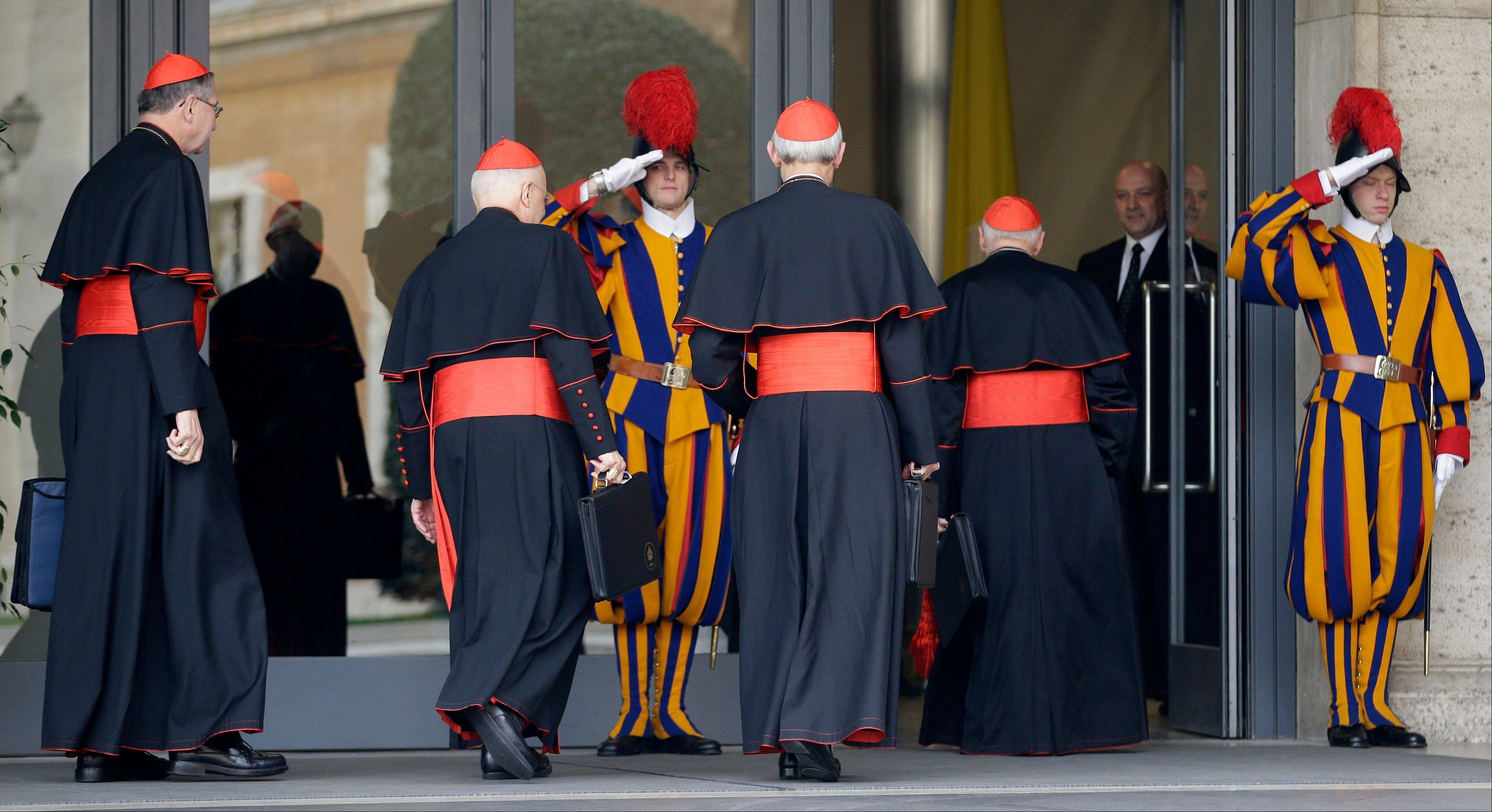 Associated Press U.S. cardinals arrive for a meeting at the Vatican Tuesday for a second day of pre-conclave meetings. With a handful of cardinals still traveling to Rome, no date has yet been set for the start of the conclave that will elect the new pope.