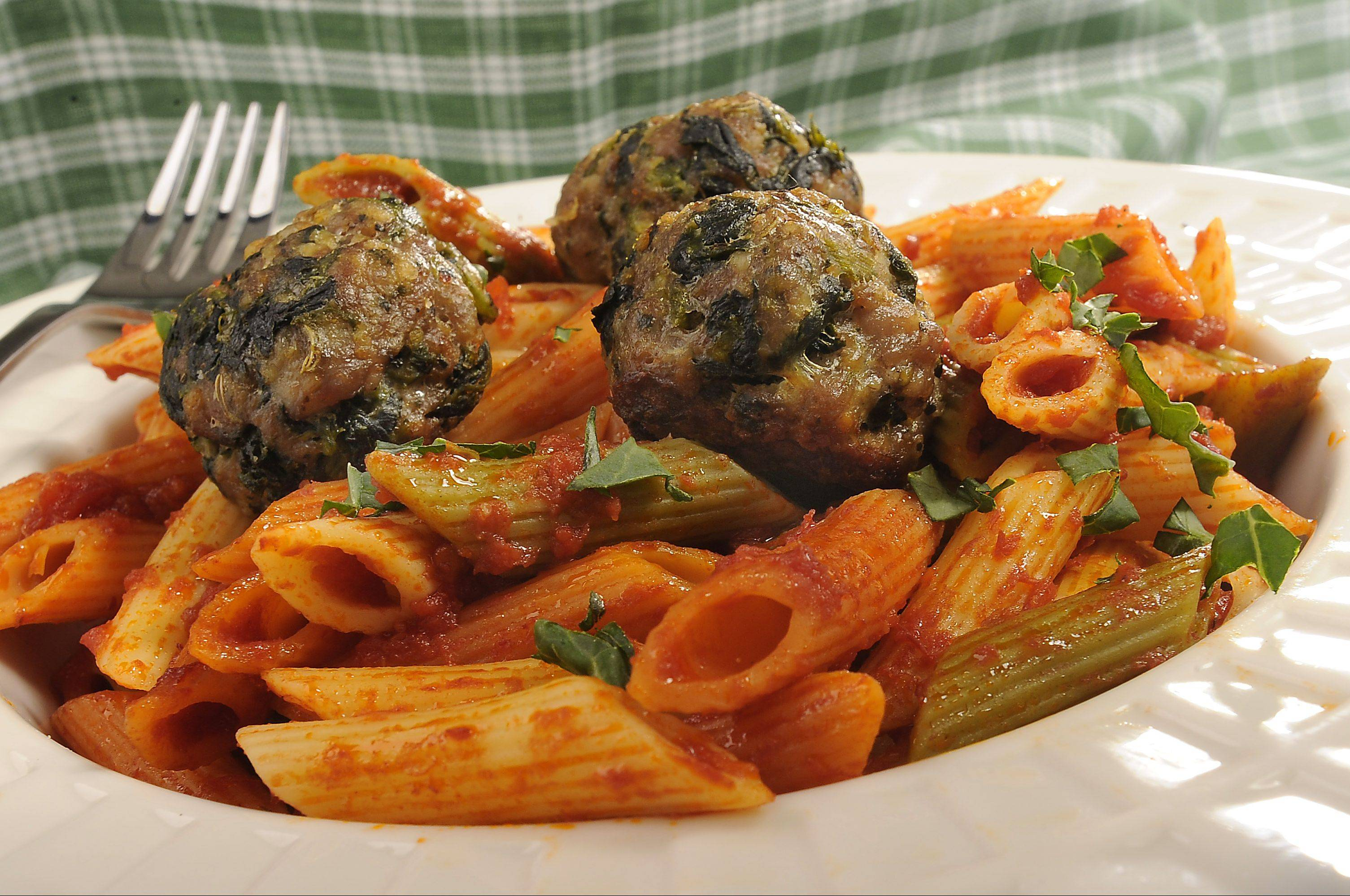 Spinach gives a healthy boost to ground beef and Italian sausage meatballs.
