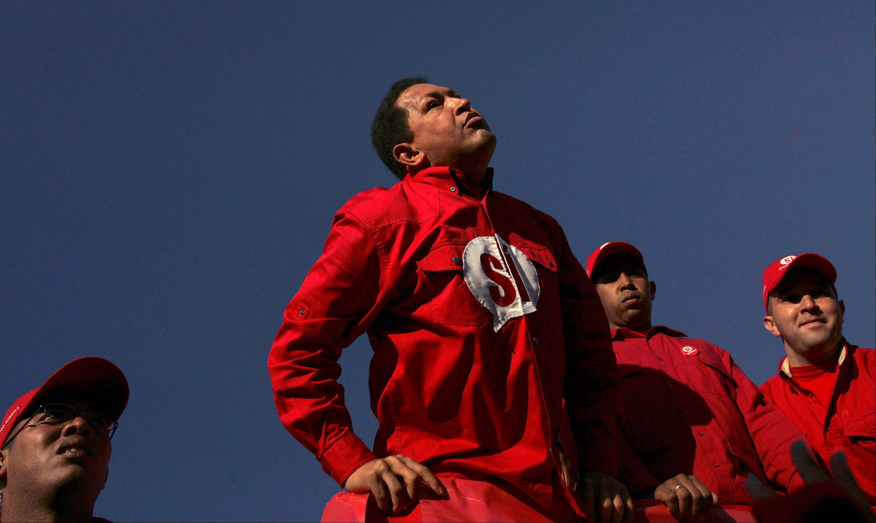 In this Nov. 30, 2007 file photo, Venezuela's President Hugo Chavez arrives to a rally in support of changes to the nation's constitution in Caracas, Venezuela.