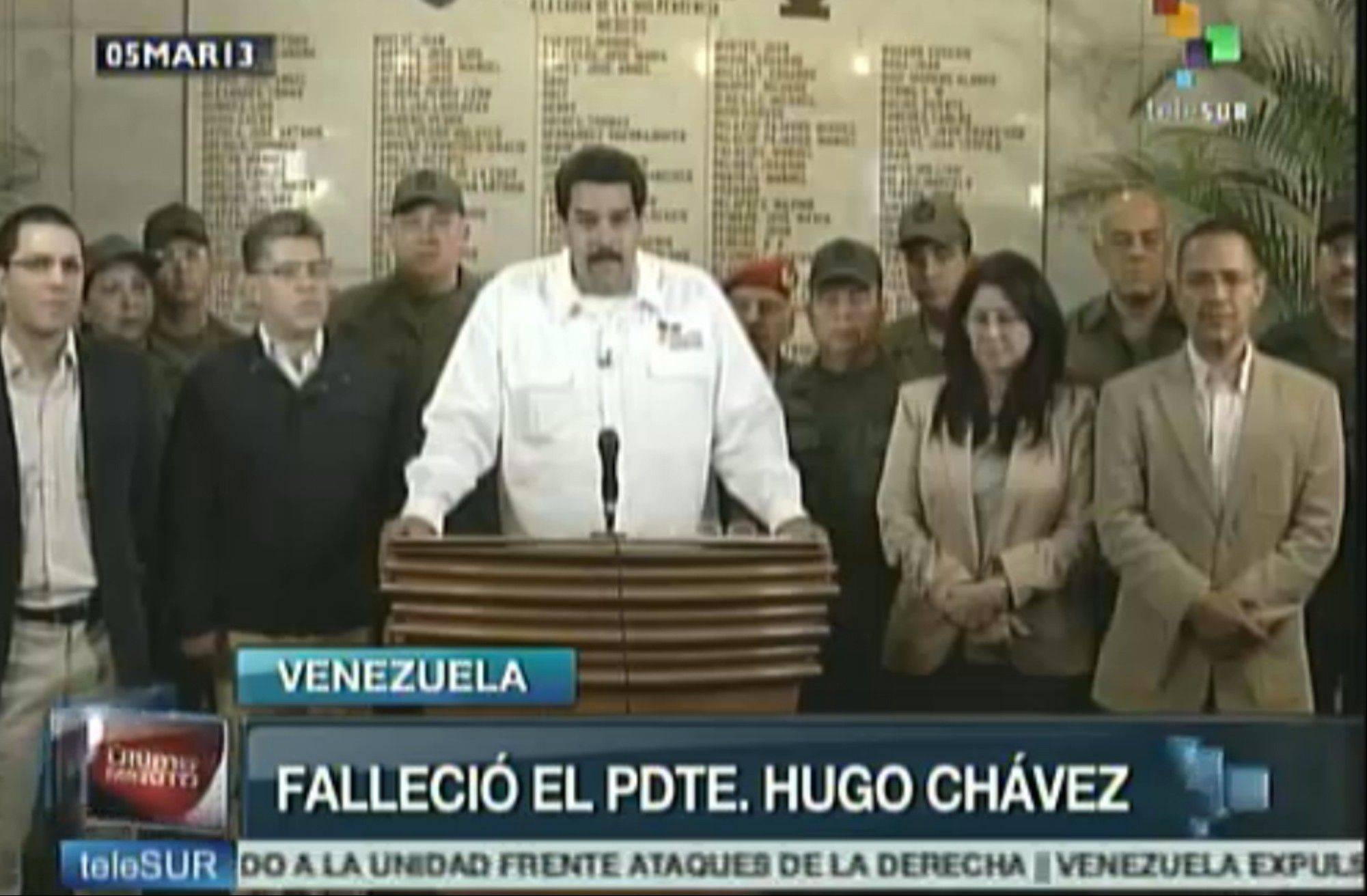 In this TV frame grab taken from the Venezuelan network Telesur, Venezuela's Vice President Nicolas Maduro announces the death of President Hugo Chavez in Caracas, Venezuela.