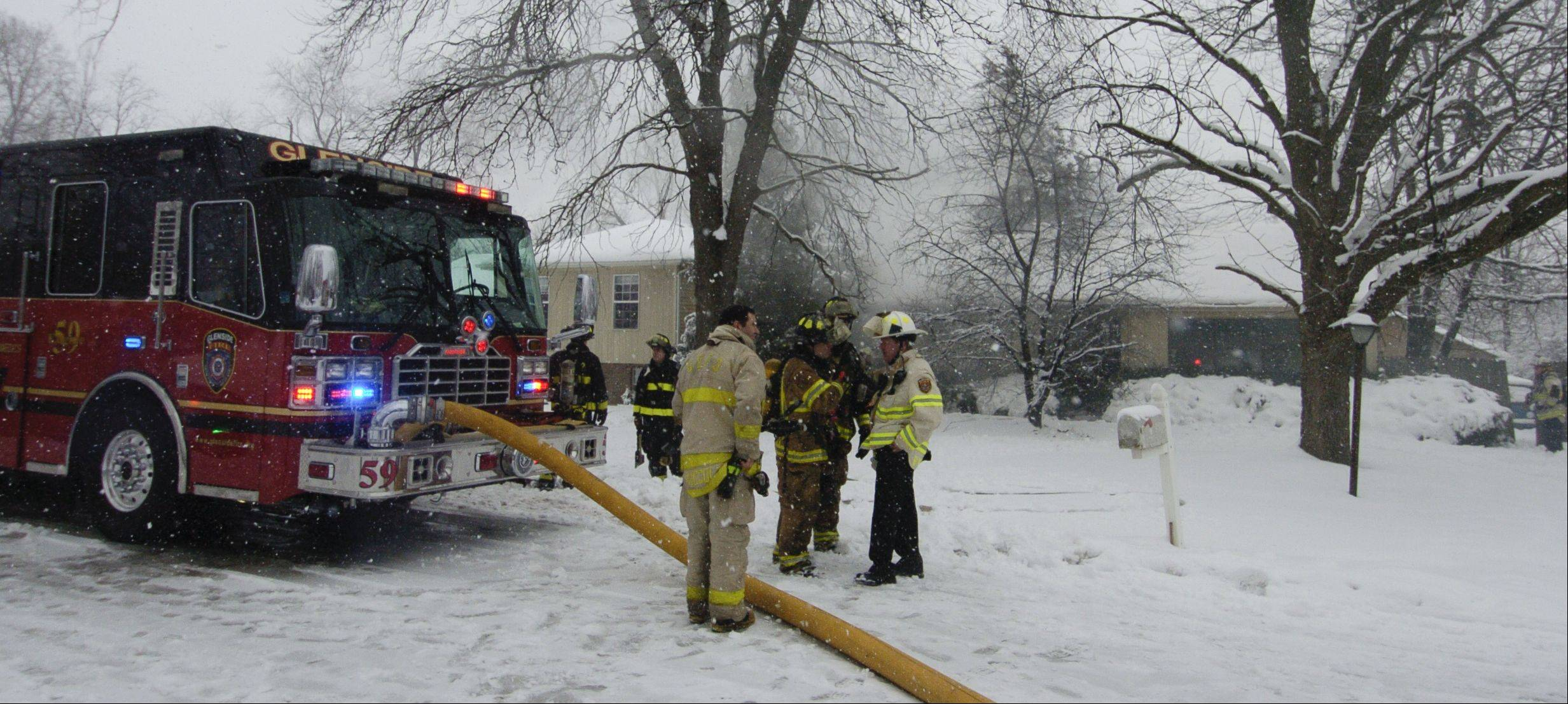 Fire on Tuesday caused extensive damage to a one-story house near Glen Ellyn.