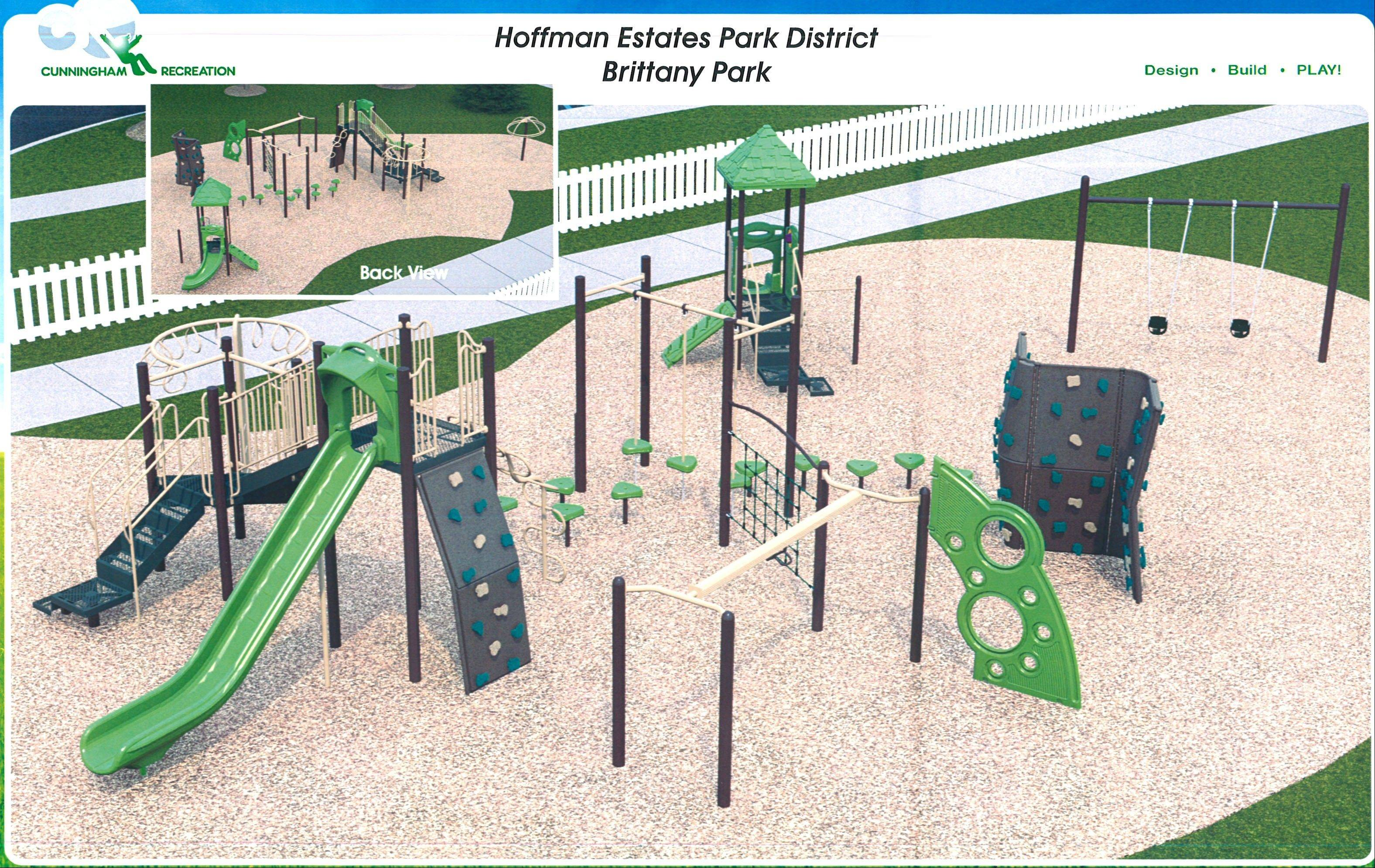 This is a rendering of the new playground that will be installed at Brittany Park, 1245 W. New Britton Drive, Hoffman Estates. The existing wood playground is deteriorating. The new playground will likely be installed by early summer.