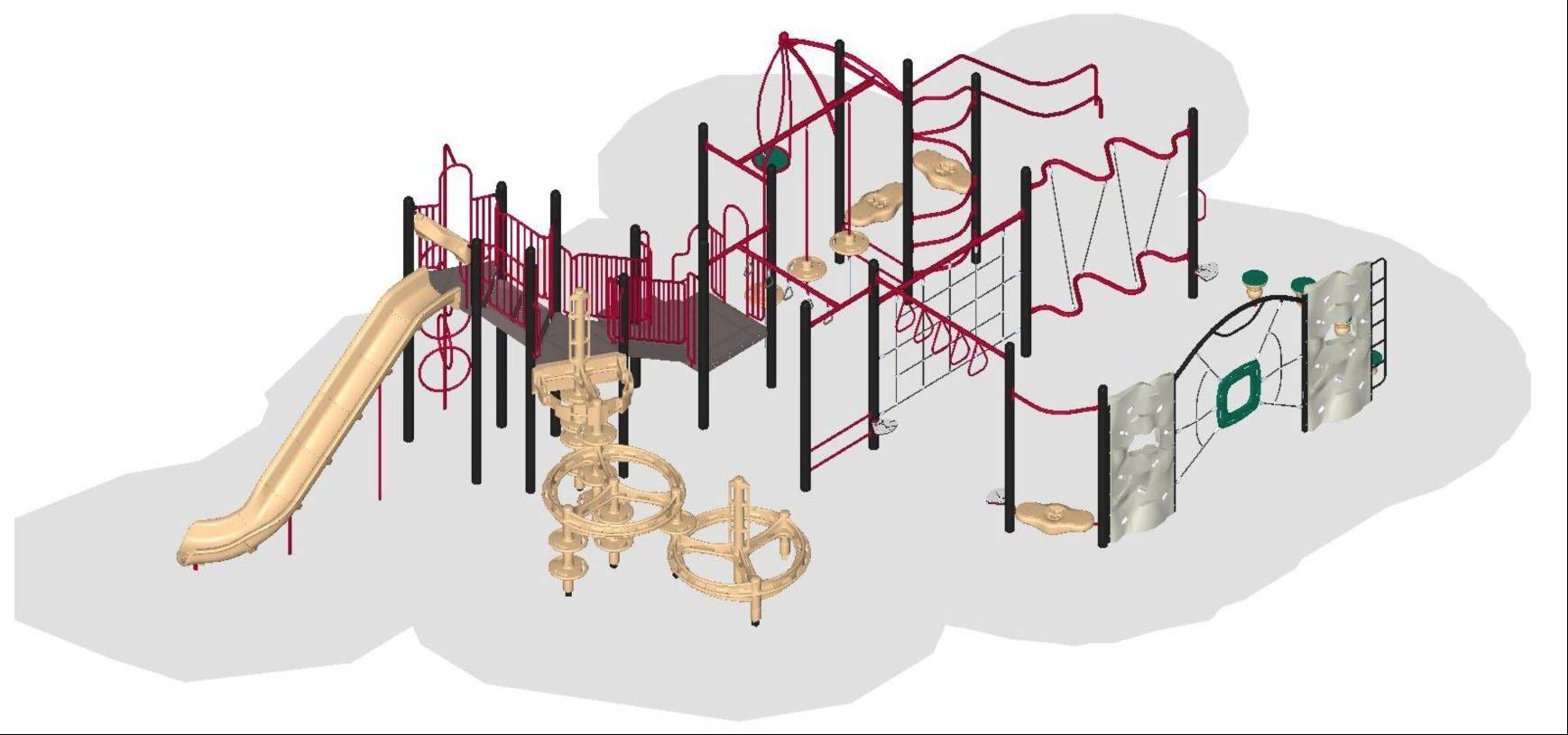 This is a rendering of the new playground that will be installed at Lincoln Park, 1993 Dogwood Drive, Hoffman Estates. The current playground is more than a decade old and made of deteriorating wood.