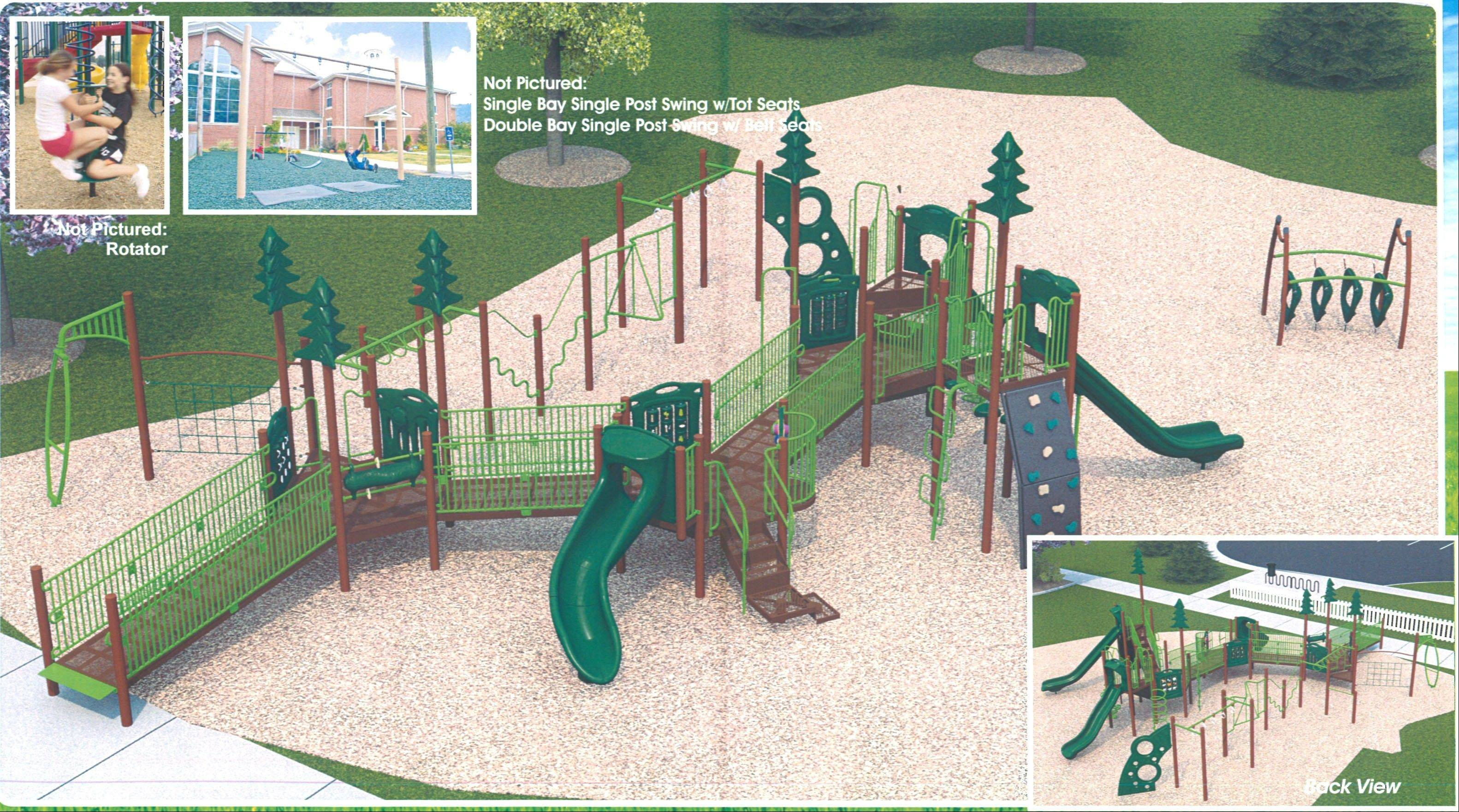 This is a rendering of the new playground that will be installed at High Point Park, 1704 Glenlake Road, Hoffman Estates. The current wood playground is more than a decade old and deteriorating.