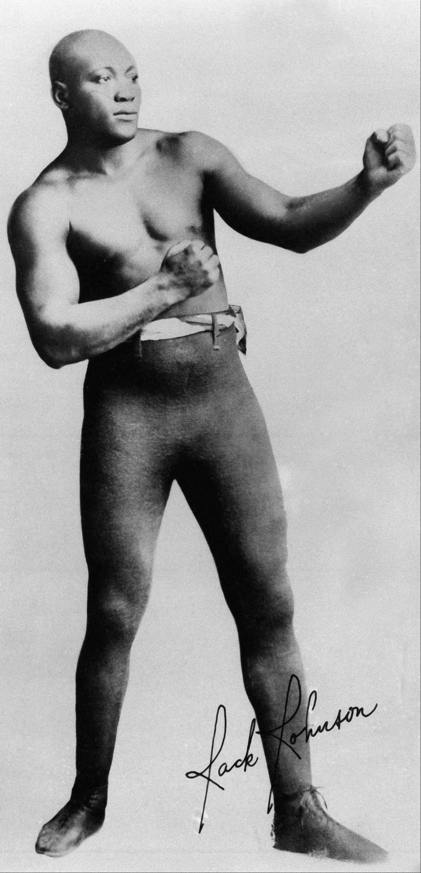 This is an undated file photo showing Jack Johnson. Lawmakers seeking a presidential pardon for Johnson, the world's first black heavyweight boxing champion imprisoned a century ago for his romantic relationships with white women, are renewing their efforts.