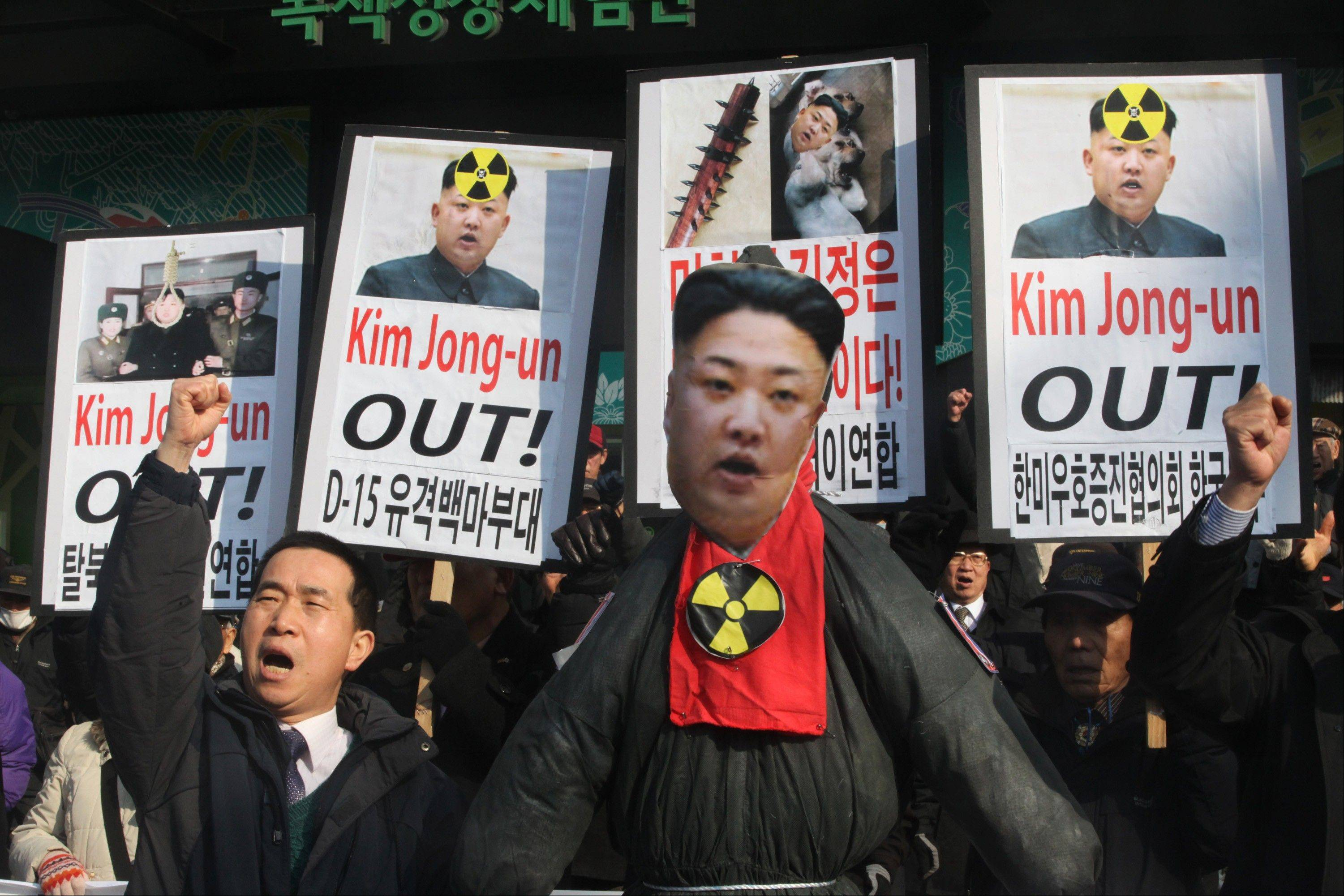 A South Korean protester shouts slogans near an effigy of North Korean leader Kim Jong Un during an anti-North Korea rally in February. The United States and China reached agreement on a draft resolution to punish North Korea.