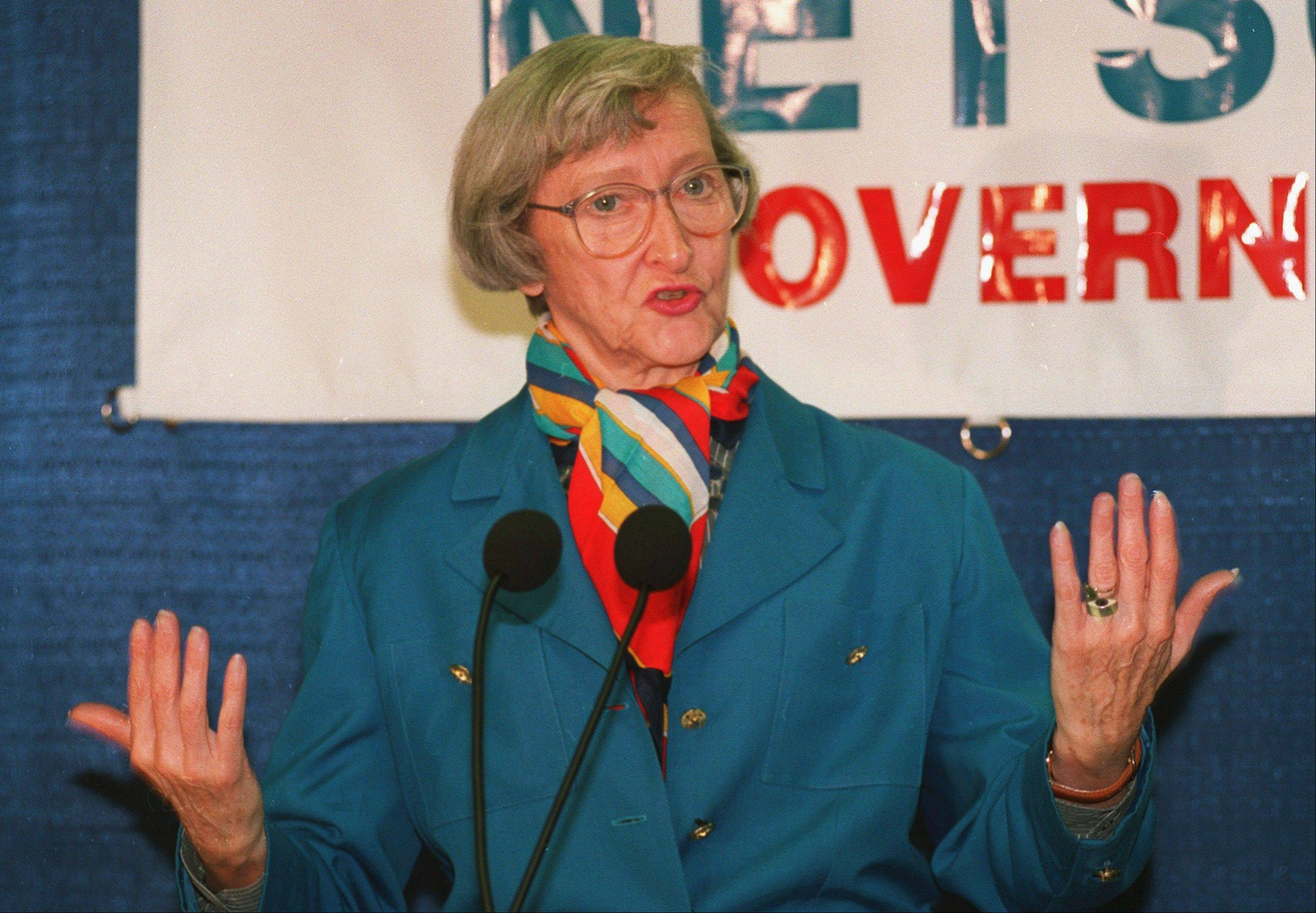 Dawn Clark Netsch, announcing her run for Illinois governor in 1993, was the first woman to run for that office on a major ticket. Netsch, also a former Illinois comptroller and state senator, died Tuesday at age 86.