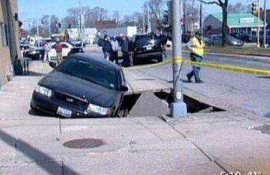 A 2009 sinkhole collapsed the pavement from underneath a Des Plaines police officer and his squad car in 2009 along Lee Street.