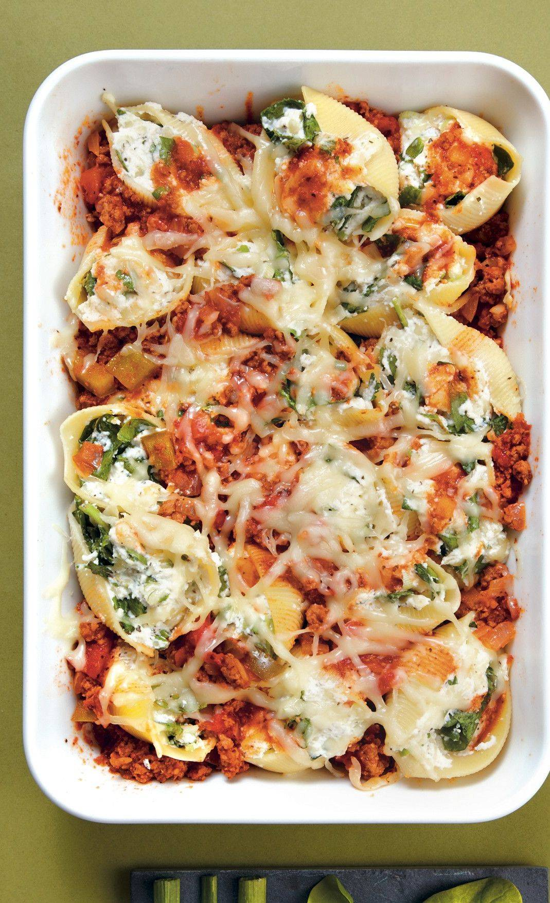 "Frozen spinach goes into these stuffed shells from Southern Living's ""Fix it & Freeze it Heat it & Eat it."