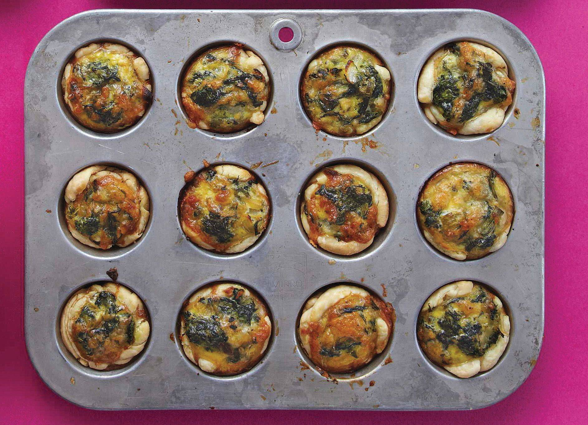 Make a big batch of mini spinach quiches then freeze some so you have them on hand for spring brunches.