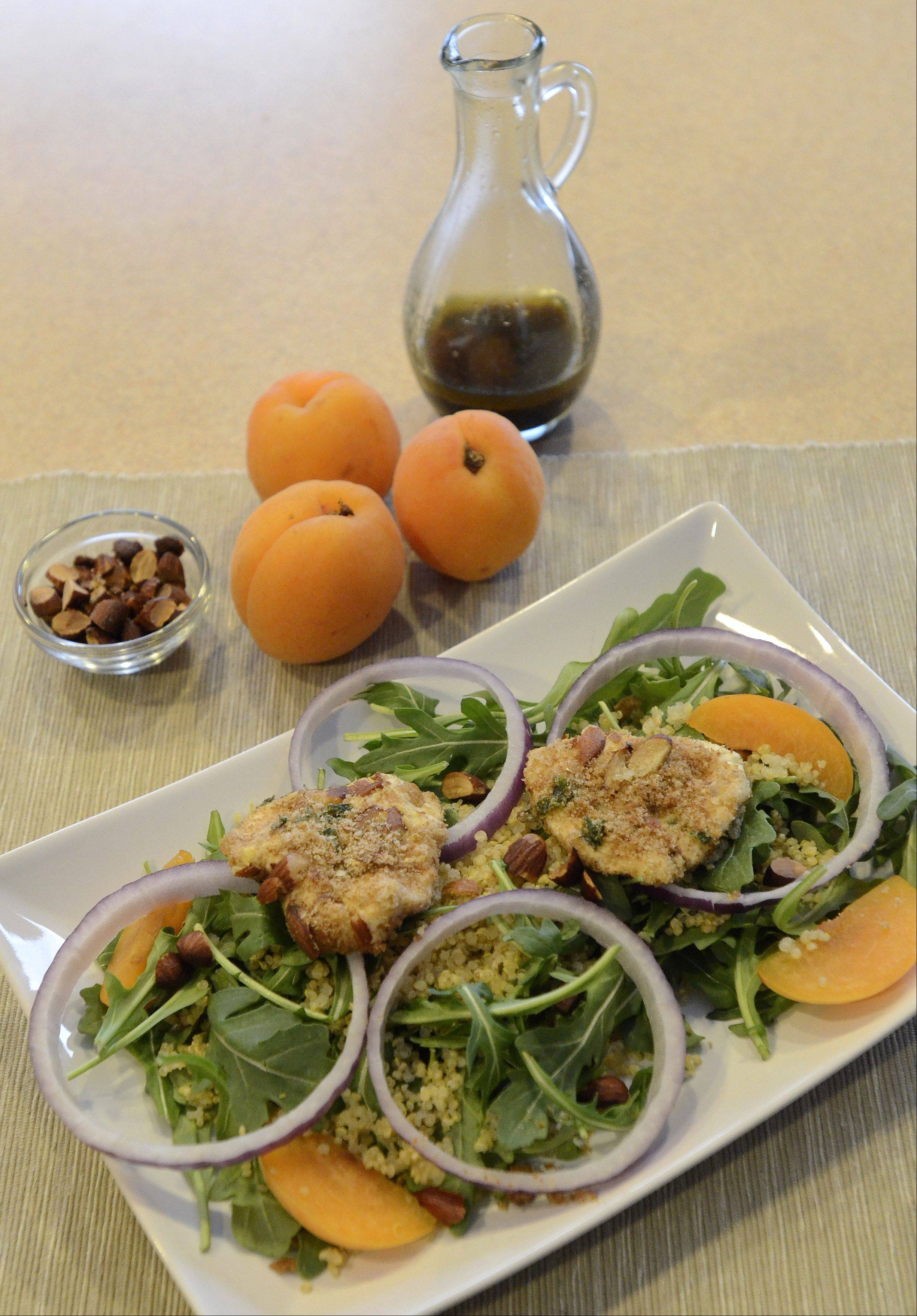 Spring Arugula Salad with Apricots and Quinoa-Almond-Crusted Goat Cheese