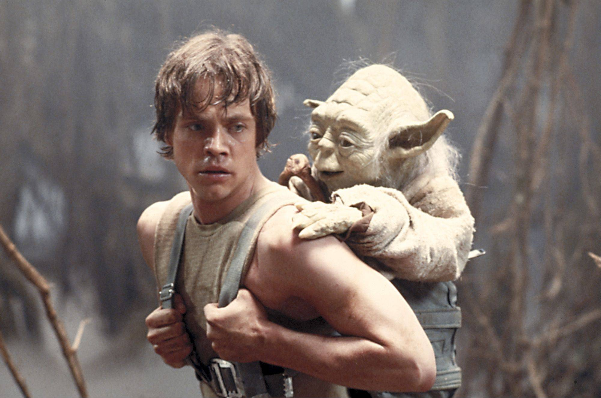 Mark Hamill as Luke Skywalker and the character Yoda appear in this scene from �Star Wars Episode V: The Empire Strikes Back.�