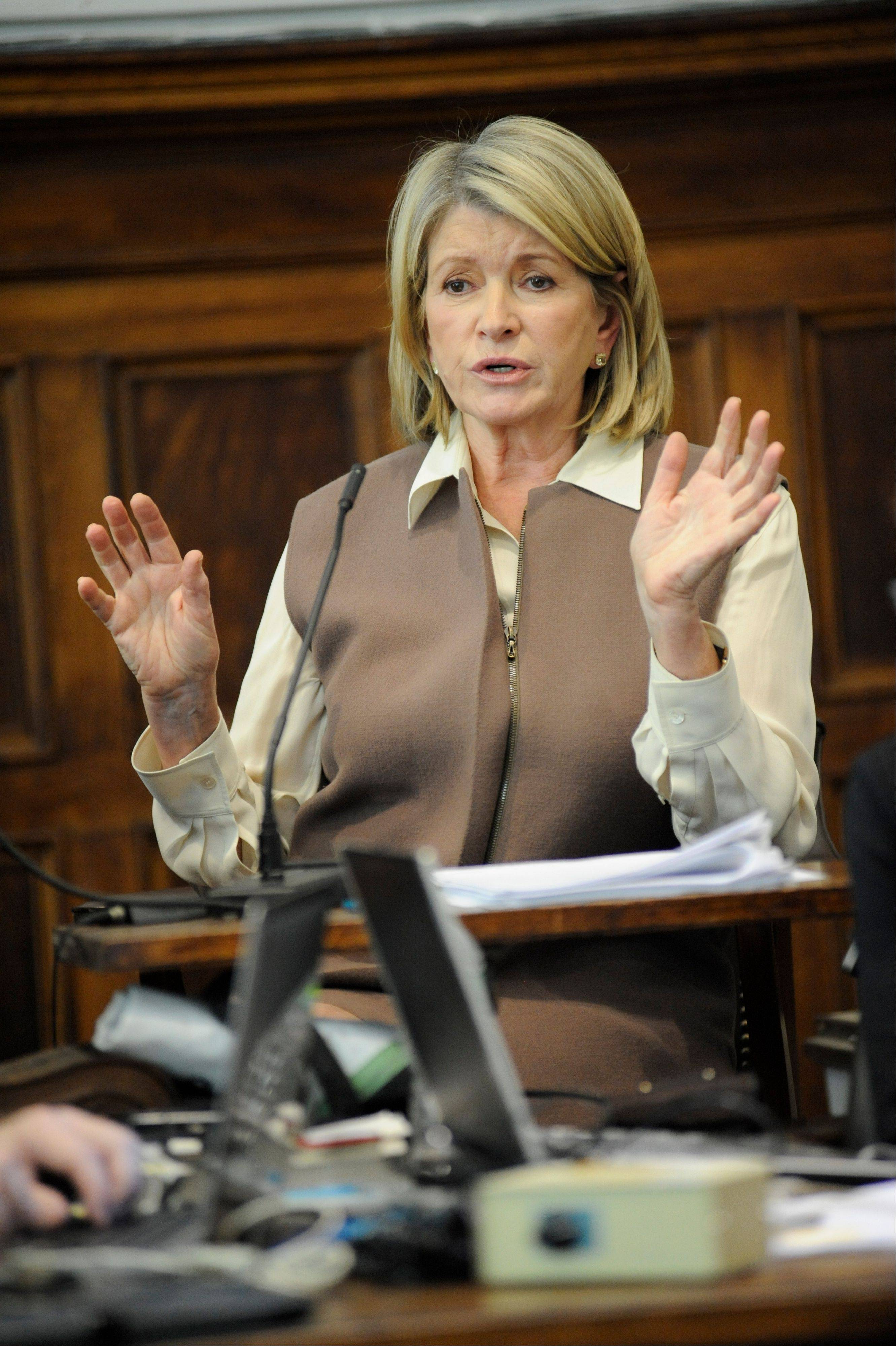 Martha Stewart testifies at the New York State Supreme Court Tuesday.