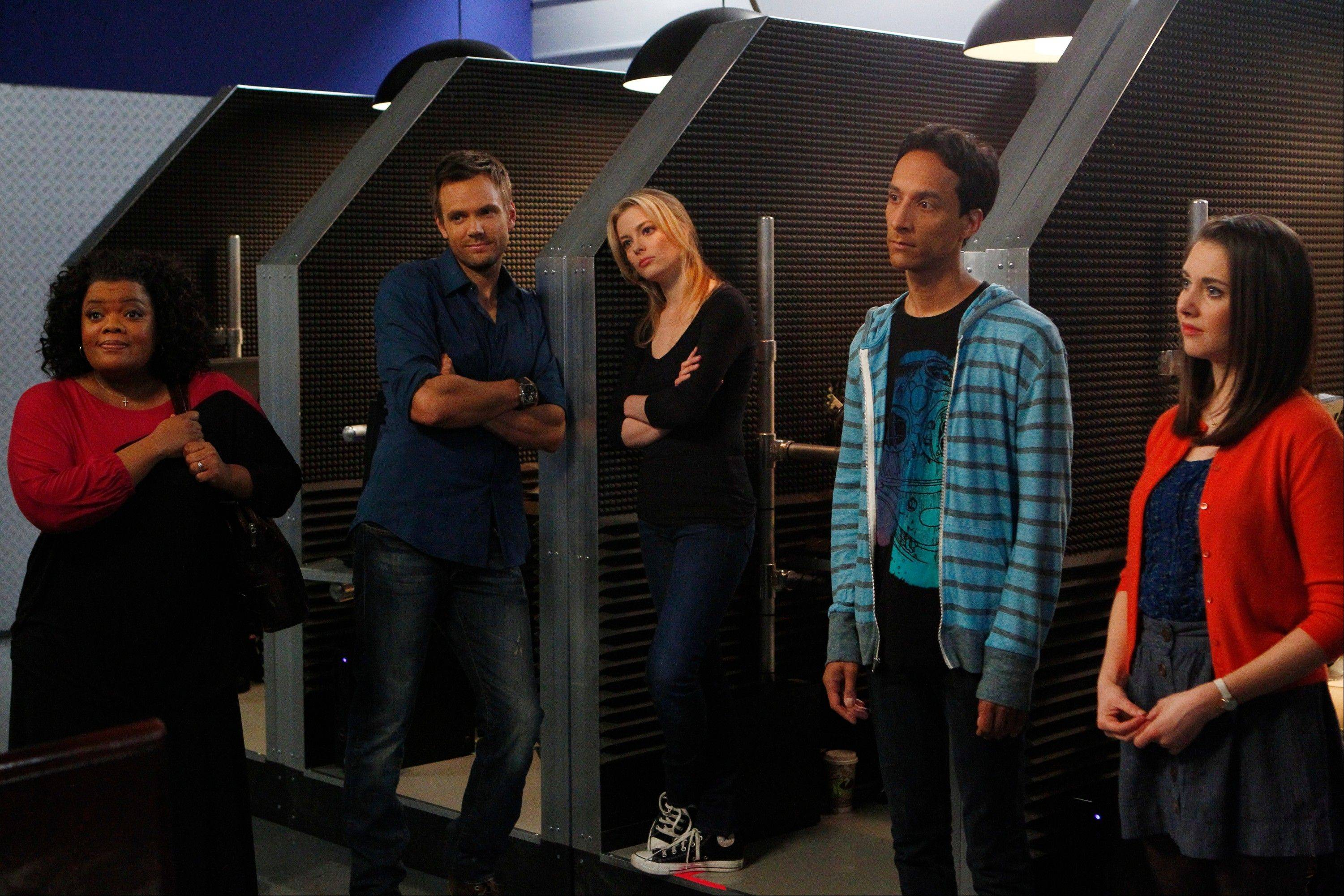 "Cast members from ""Community,"" from left, Yvette Nicole Brown as Shirley, Joel McHale as Jeff, Gillian Jacobs as Britta, Danny Pudi as Abed, and Alison Brie as Annie. It's turbulent times for the NBC comedy."
