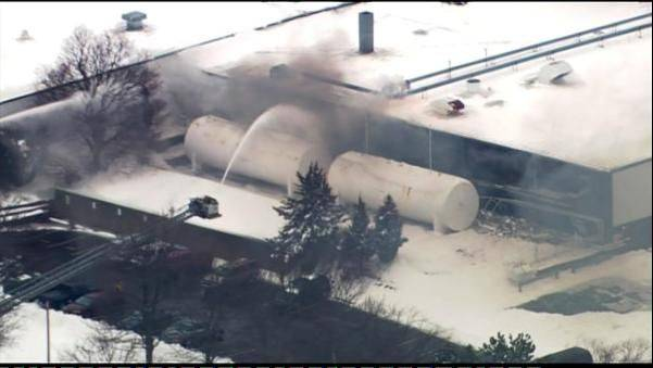 Several area fire departments were at the scene of an explosion on Industrial Drive in Cary Wednesday.