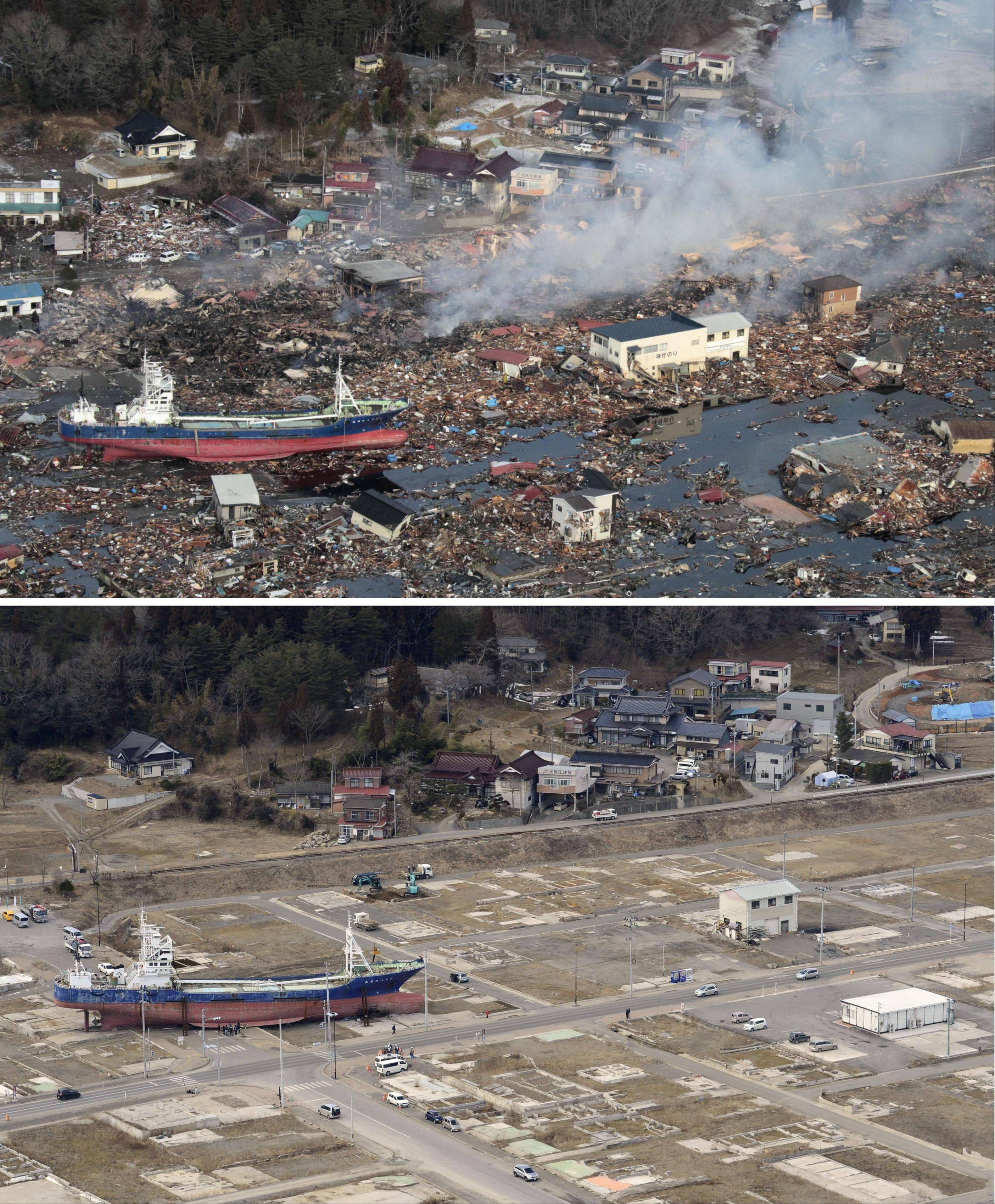 This combination photo shows an aerial view of Kesennuma, Miyagi prefecture on March 12, 2011, top, and Friday, March 4, 2013.