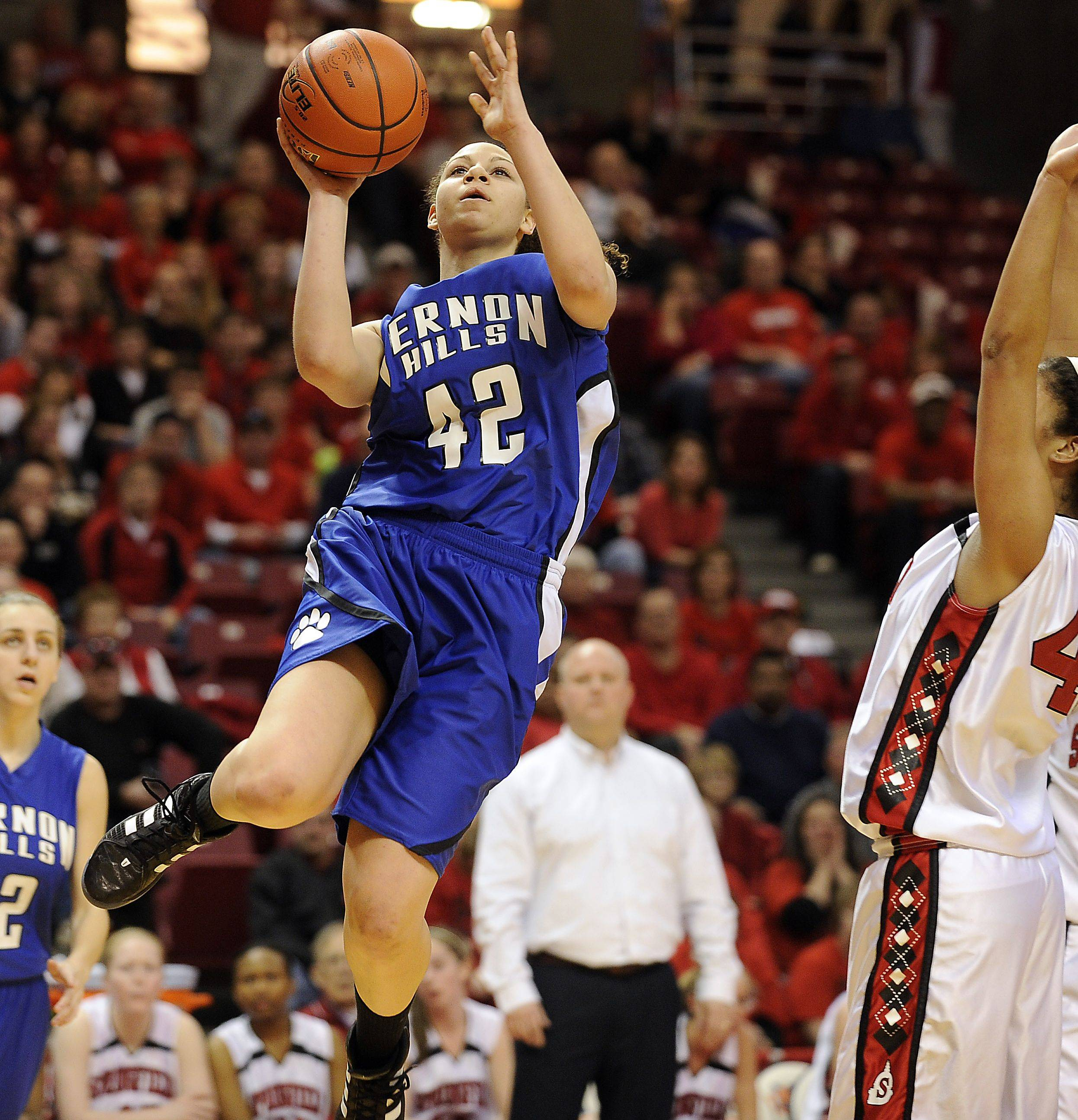 Vernon Hills' Lauren Webb glides to the basket during last year's Class 3A tournament. Webb was key in getting the Cougars back downstate for a second straight time this winter.