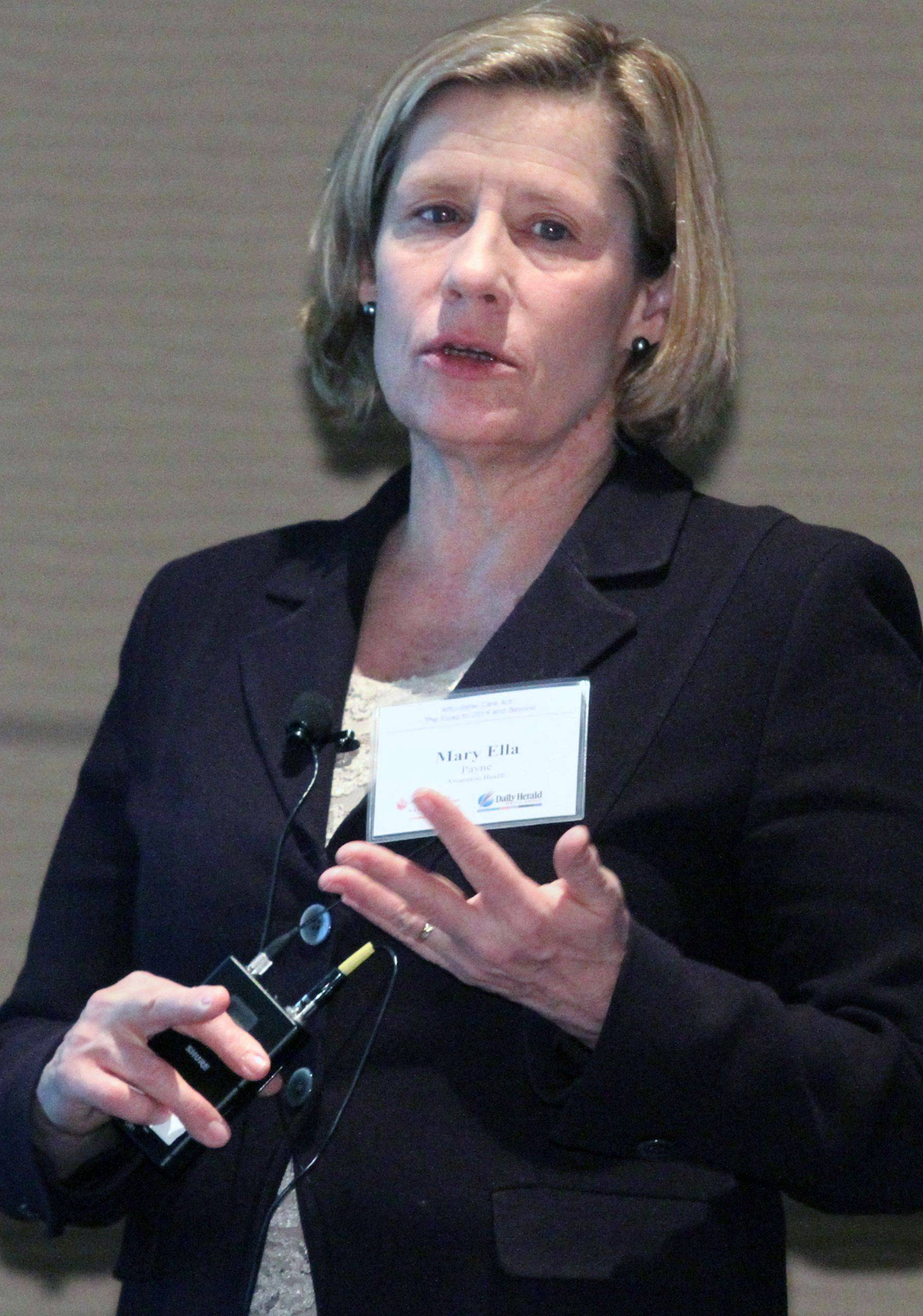 Mary Ella Payne, senior vice president of policy and system legislative leadership at Ascension Health in Washington, D.C., spoke about the Affordable Care Act in a forum sponsored by the Alexian Brothers Health System and Daily Herald Media Group.