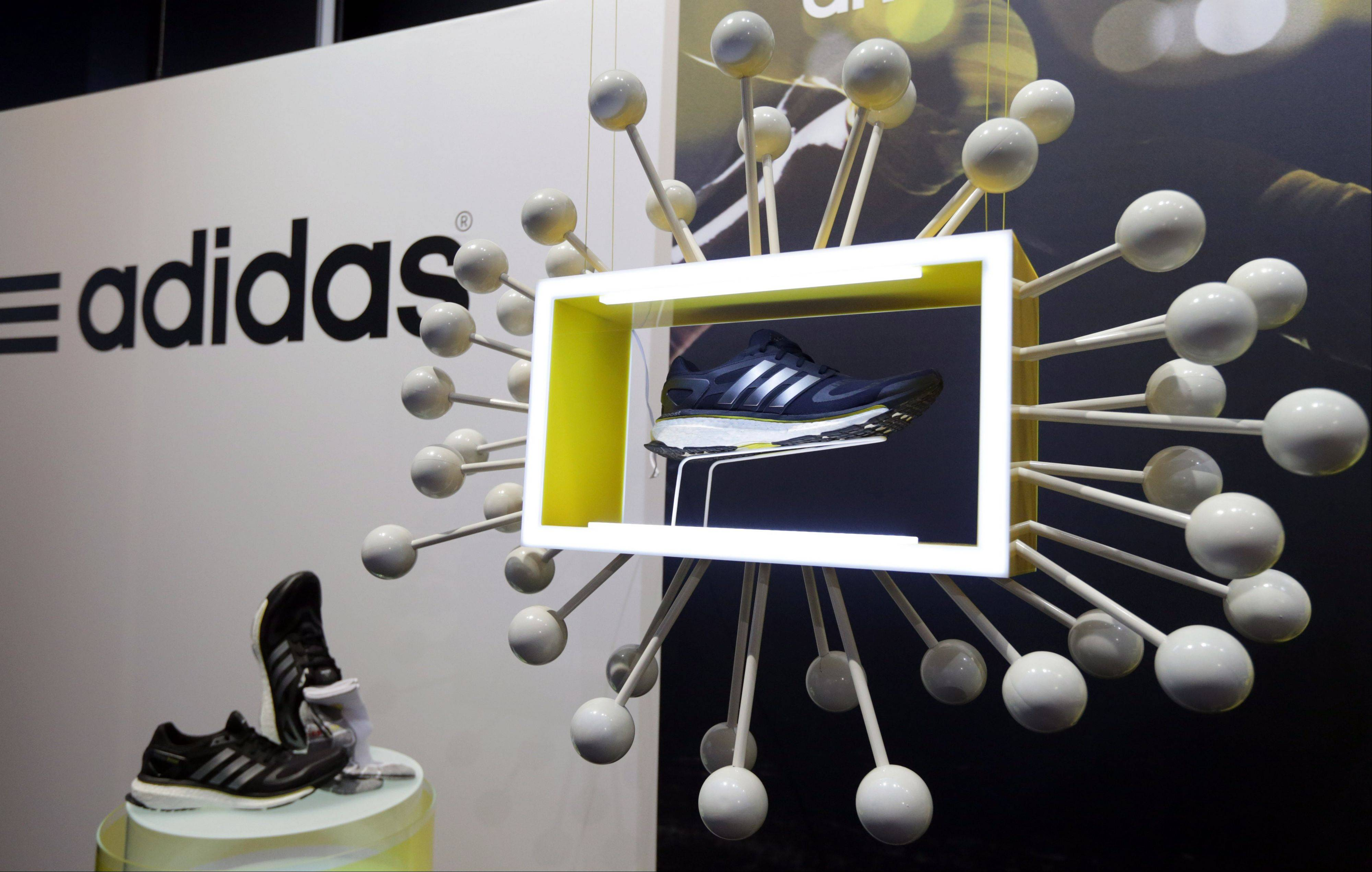 "The new Adidas shoe ""boost' is presented during the annual balance news conference in Herzogenaurach, southern Germany, Thursday."