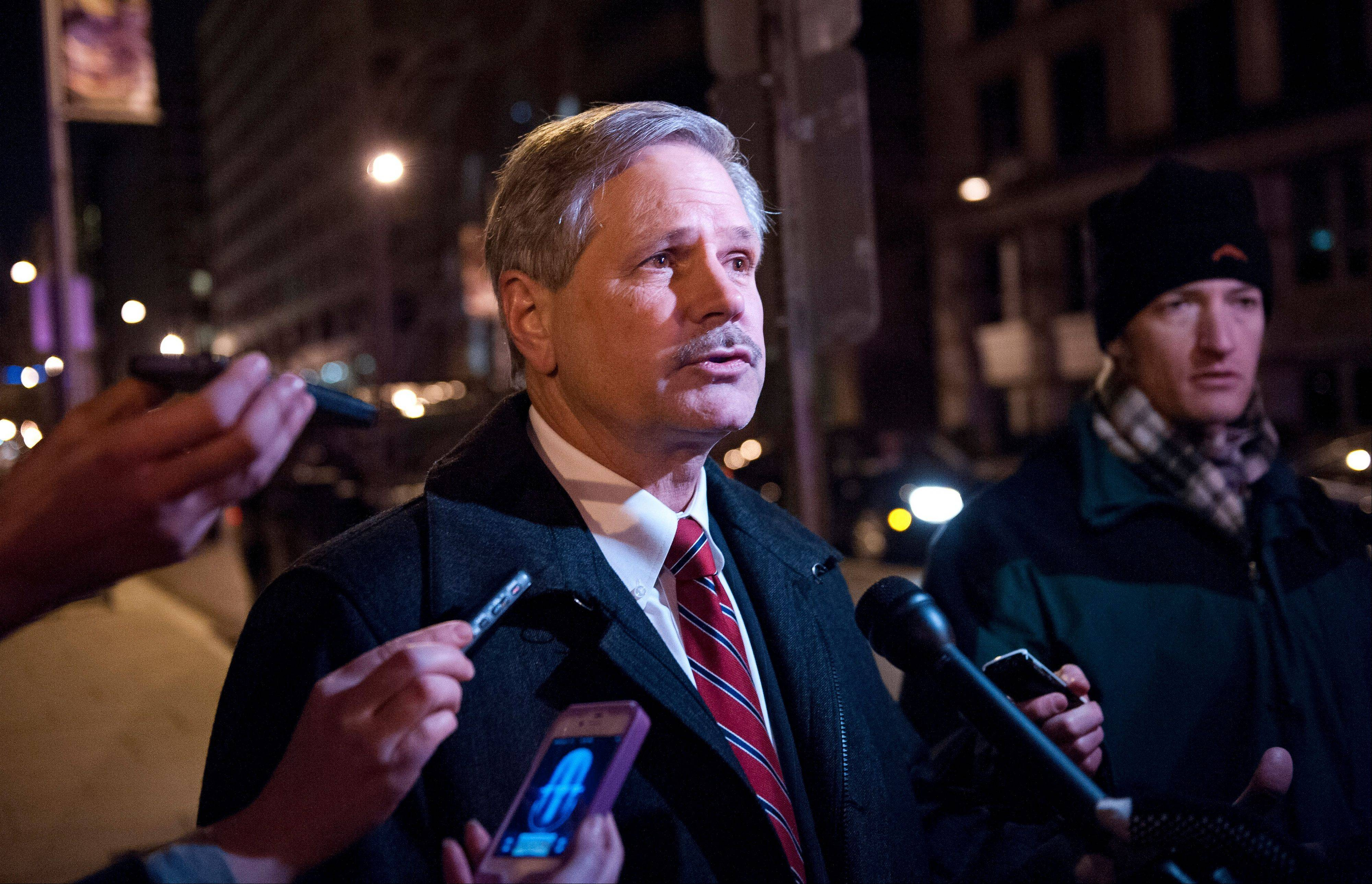 Sen. John Hoeven, a North Dakota Republican, speaks with reporters as he leaves the Jefferson Hotel after a dinner meeting hosted by President Barack Obama for a few Republican Senators in Washington Wednesday.