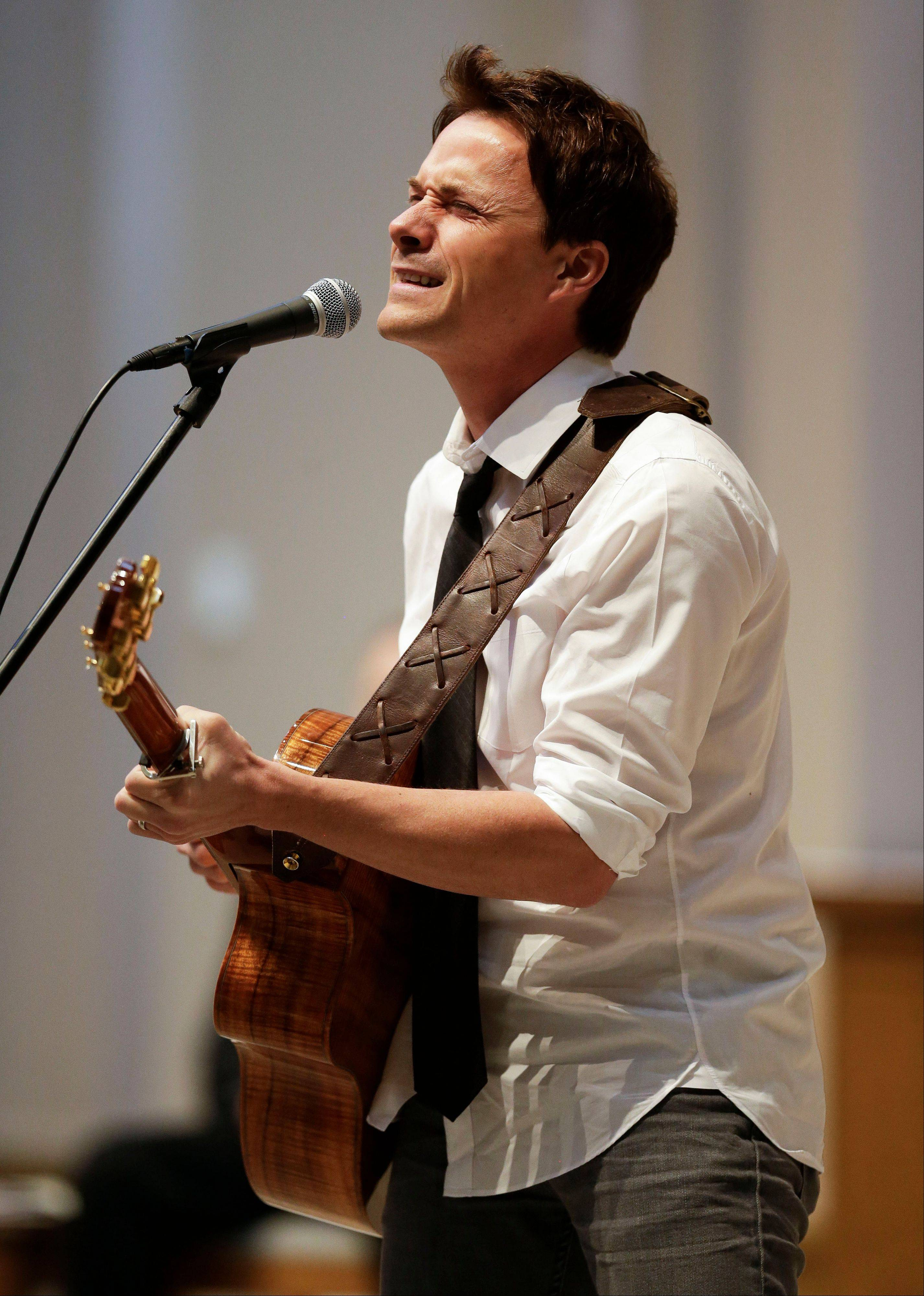Bryan White performs during a memorial service for fellow country singer Mindy McCready on Wednesday in Nashville, Tenn.